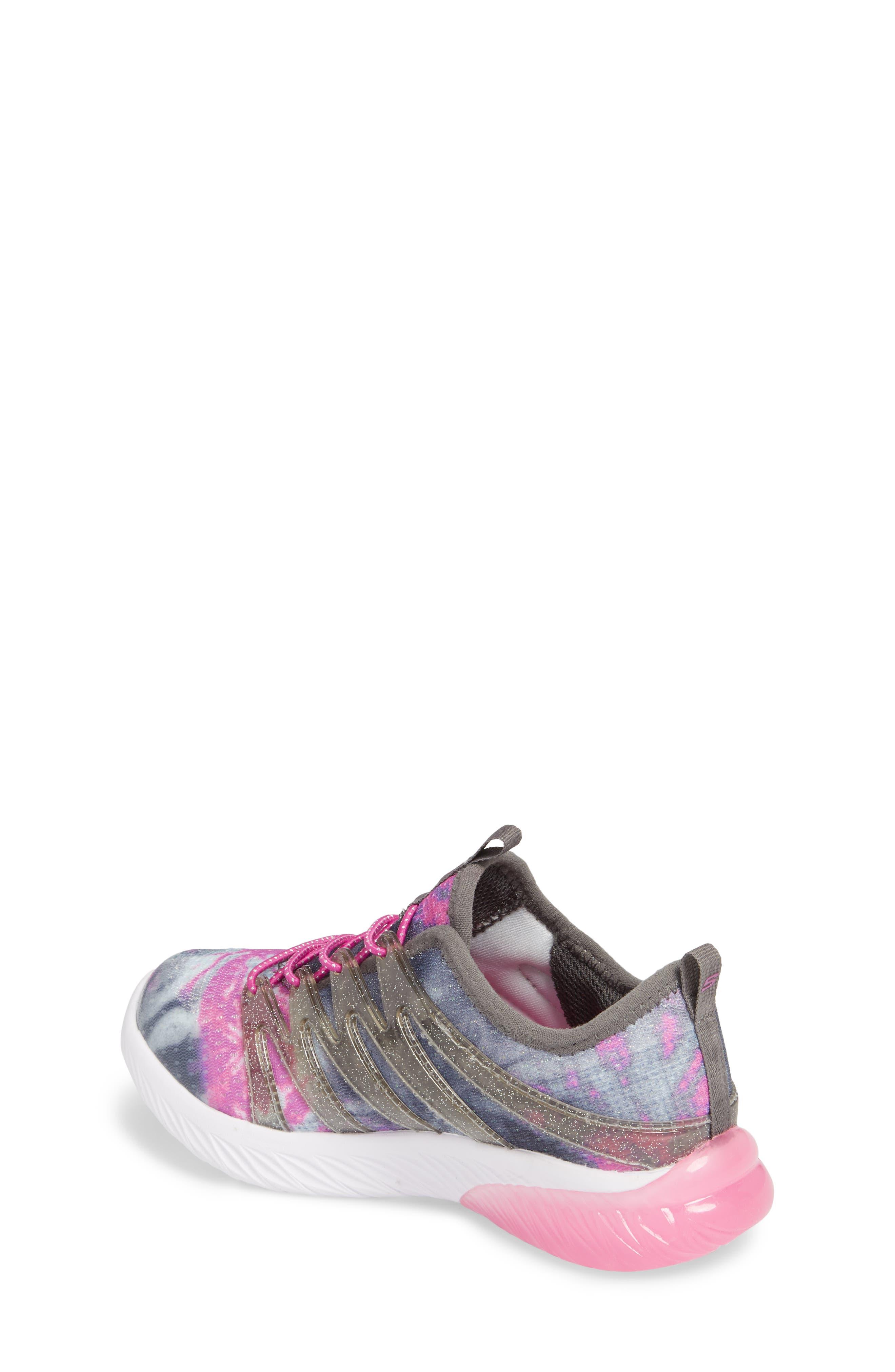 Skech Gem Glitter Sneaker,                             Alternate thumbnail 2, color,                             Charcoal/ Hot Pink