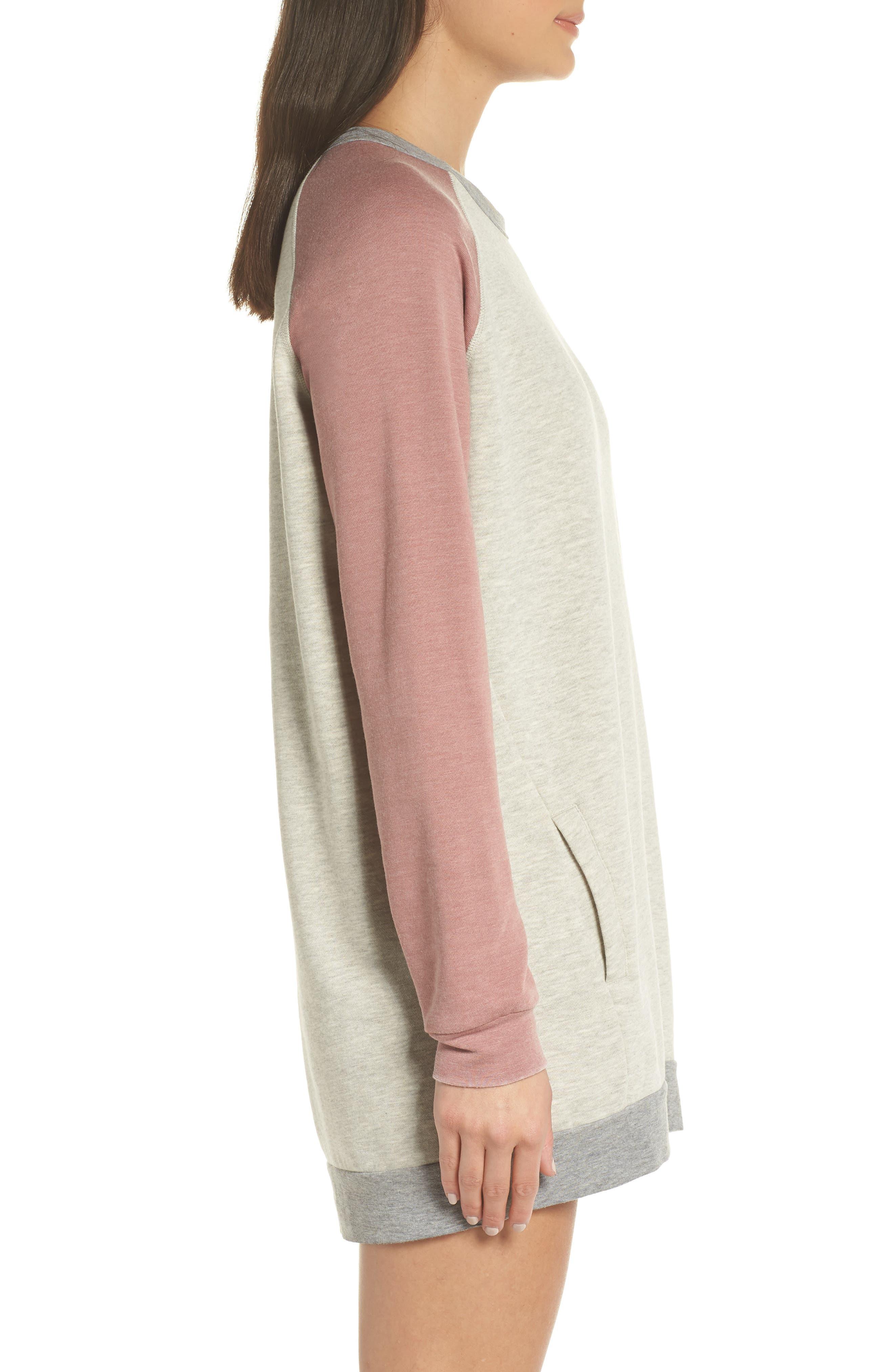 Lounge Sweatshirt Dress,                             Alternate thumbnail 5, color,                             Pebble Heather / Mauve