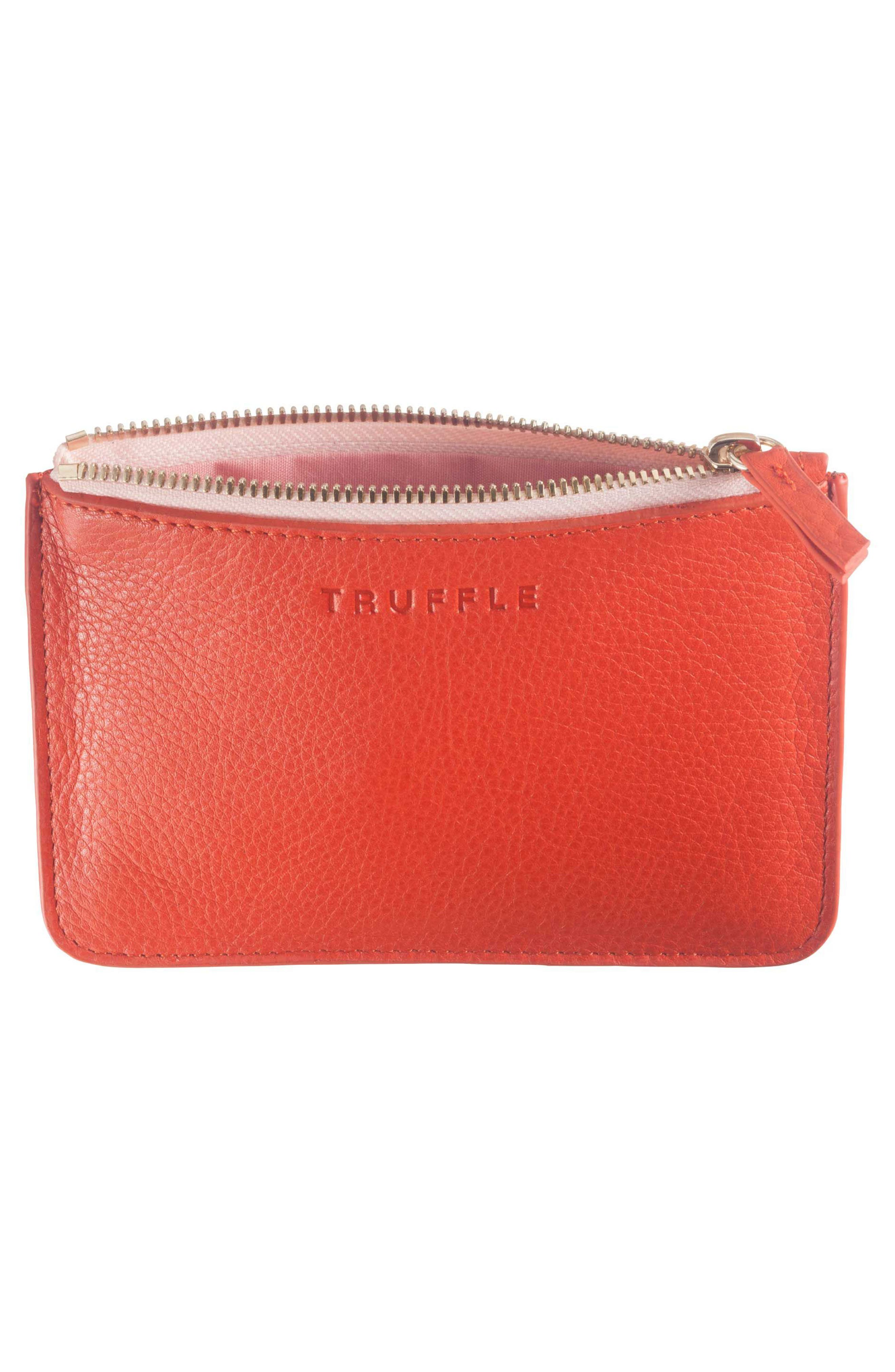 Privacy Leather Coin Pouch,                             Alternate thumbnail 3, color,                             Poppy