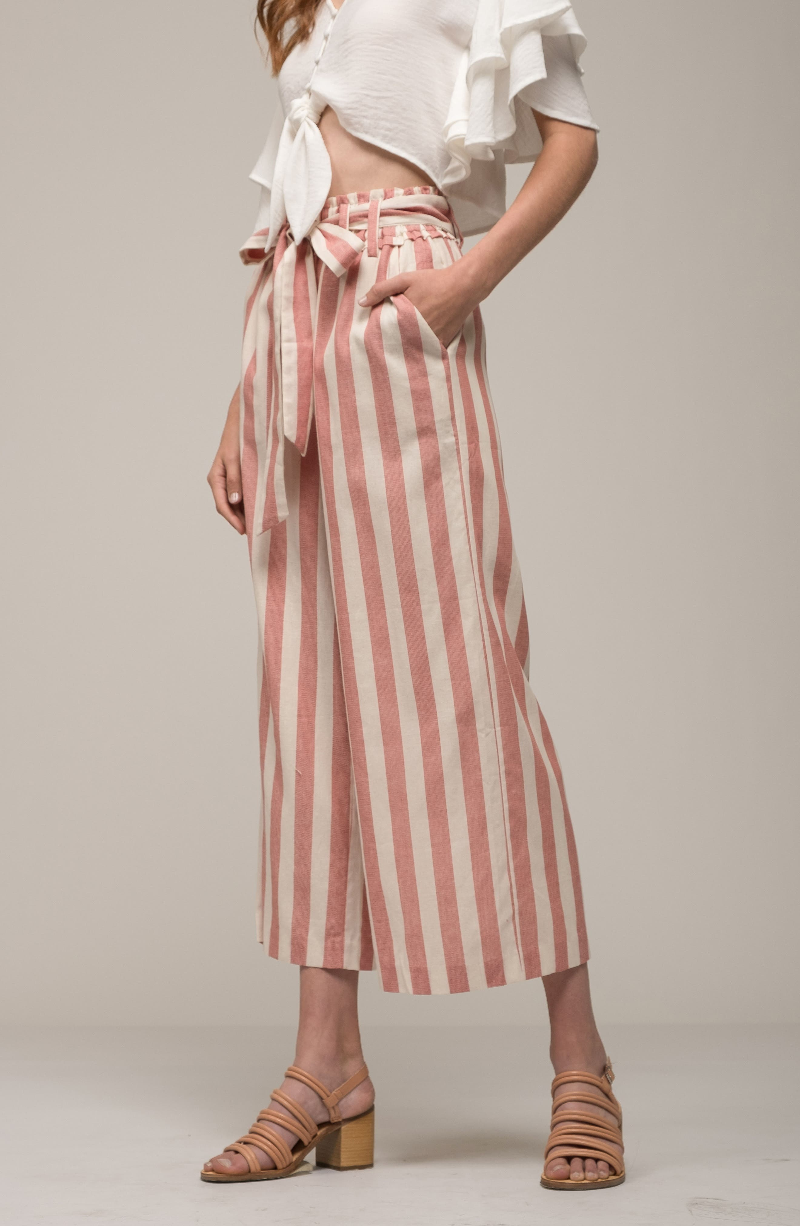 Stripe Paperbag Waist Pants,                             Alternate thumbnail 8, color,                             Red Stripe