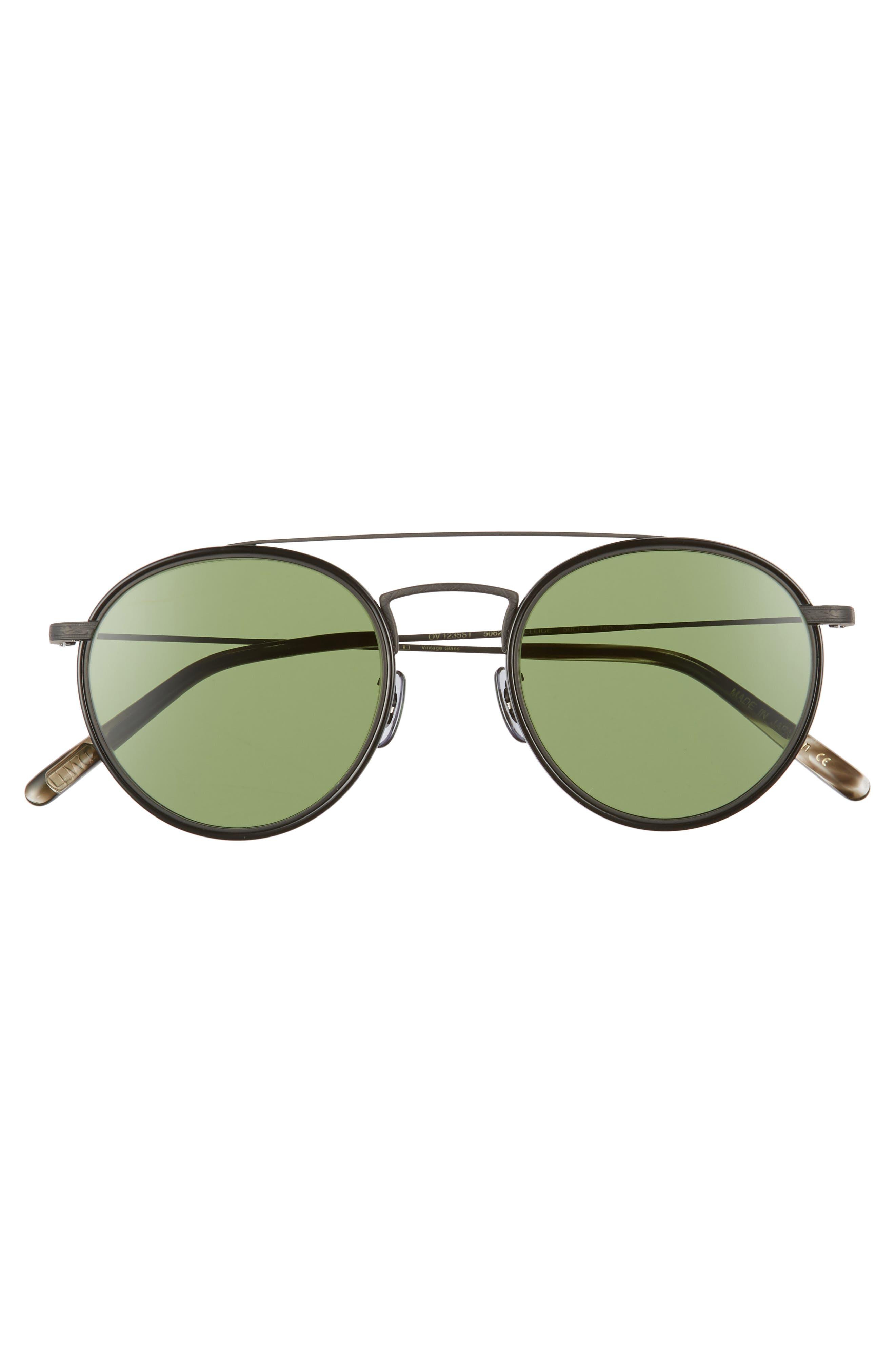 Ellice 50mm Round Sunglasses,                             Alternate thumbnail 2, color,                             Matte Black