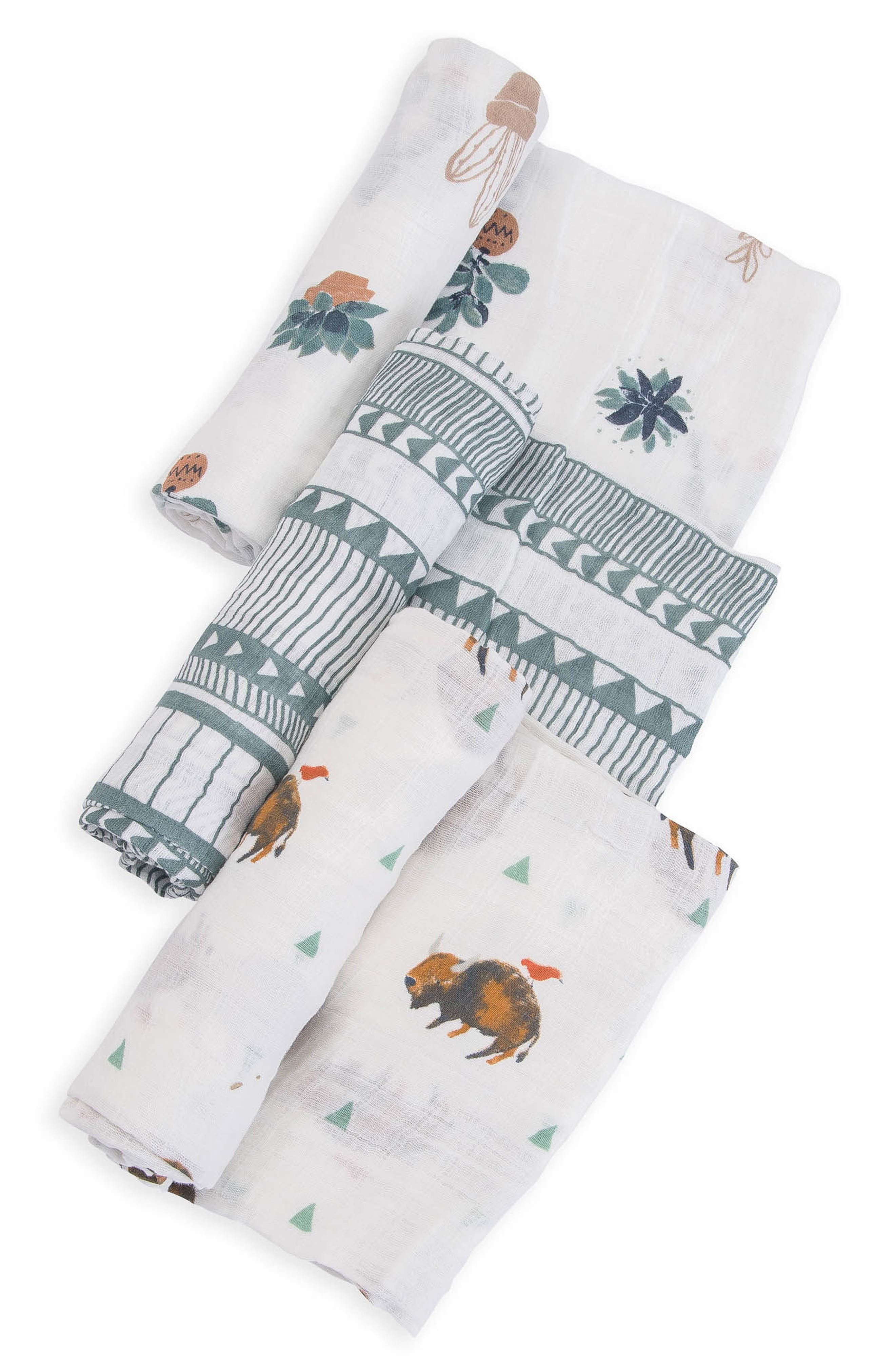 3-Pack Cotton Muslin Blankets,                             Alternate thumbnail 3, color,                             Bison