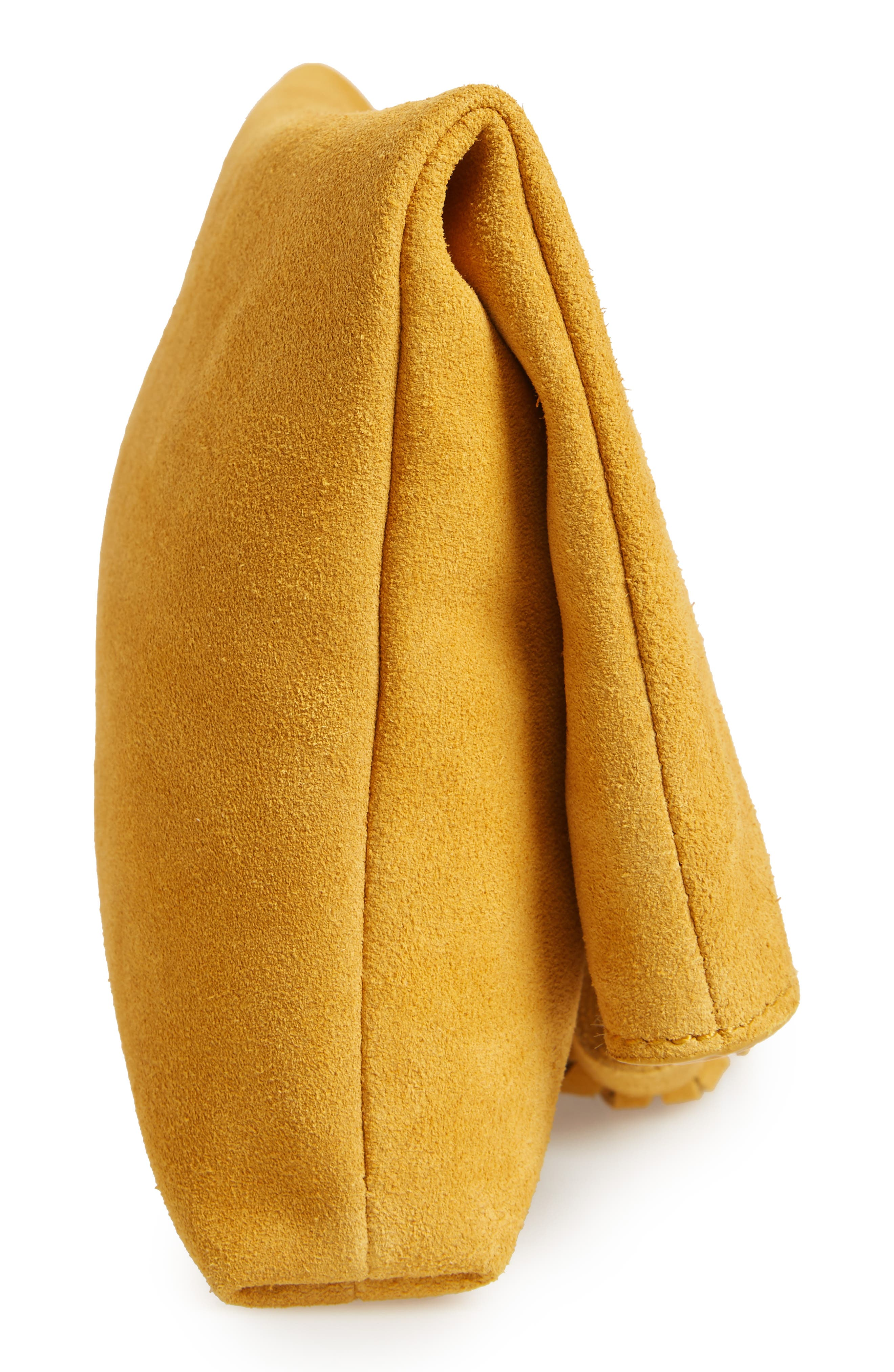 Suede Clutch,                             Alternate thumbnail 3, color,                             Mustard
