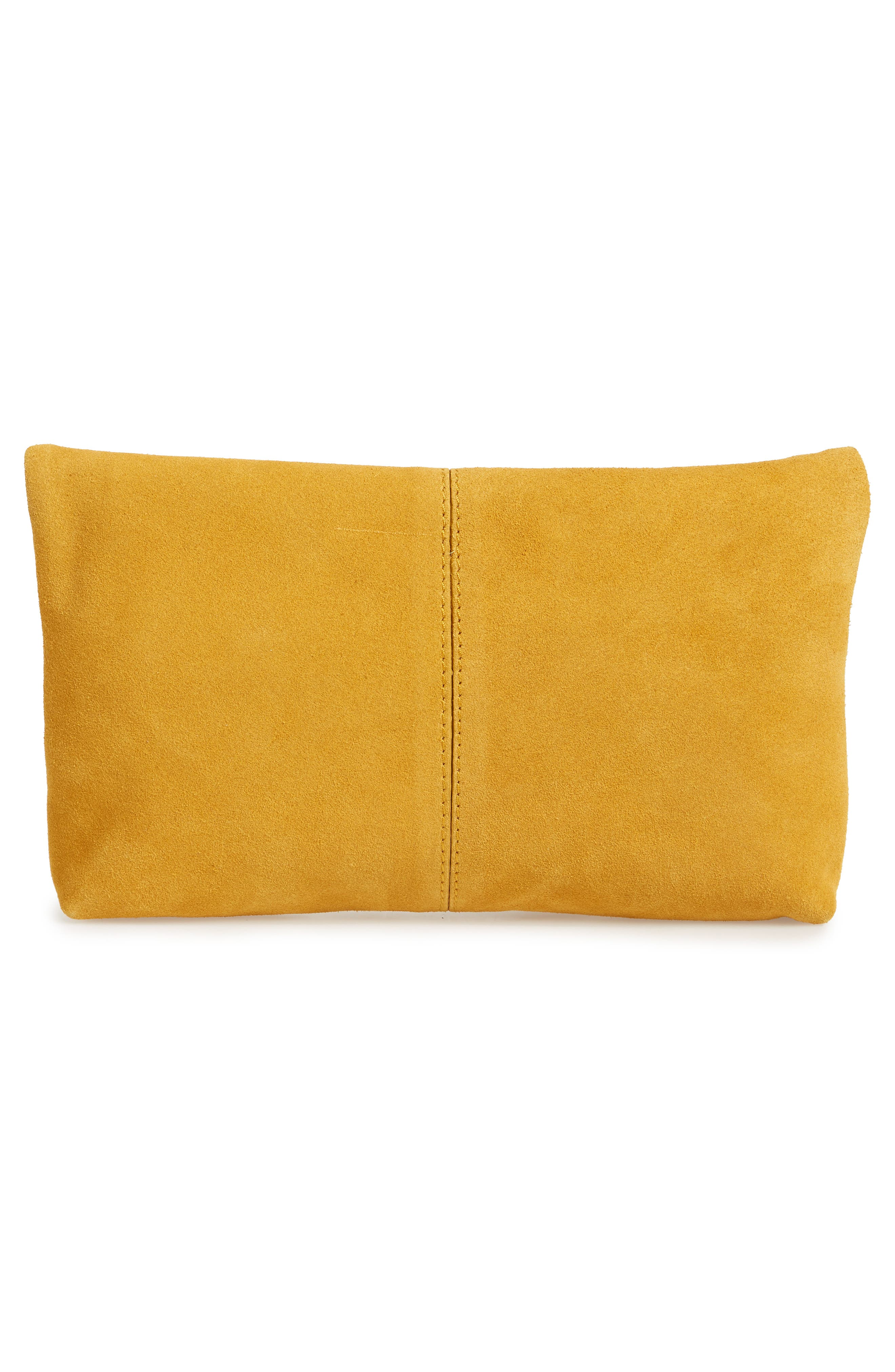 Suede Clutch,                             Alternate thumbnail 5, color,                             Mustard