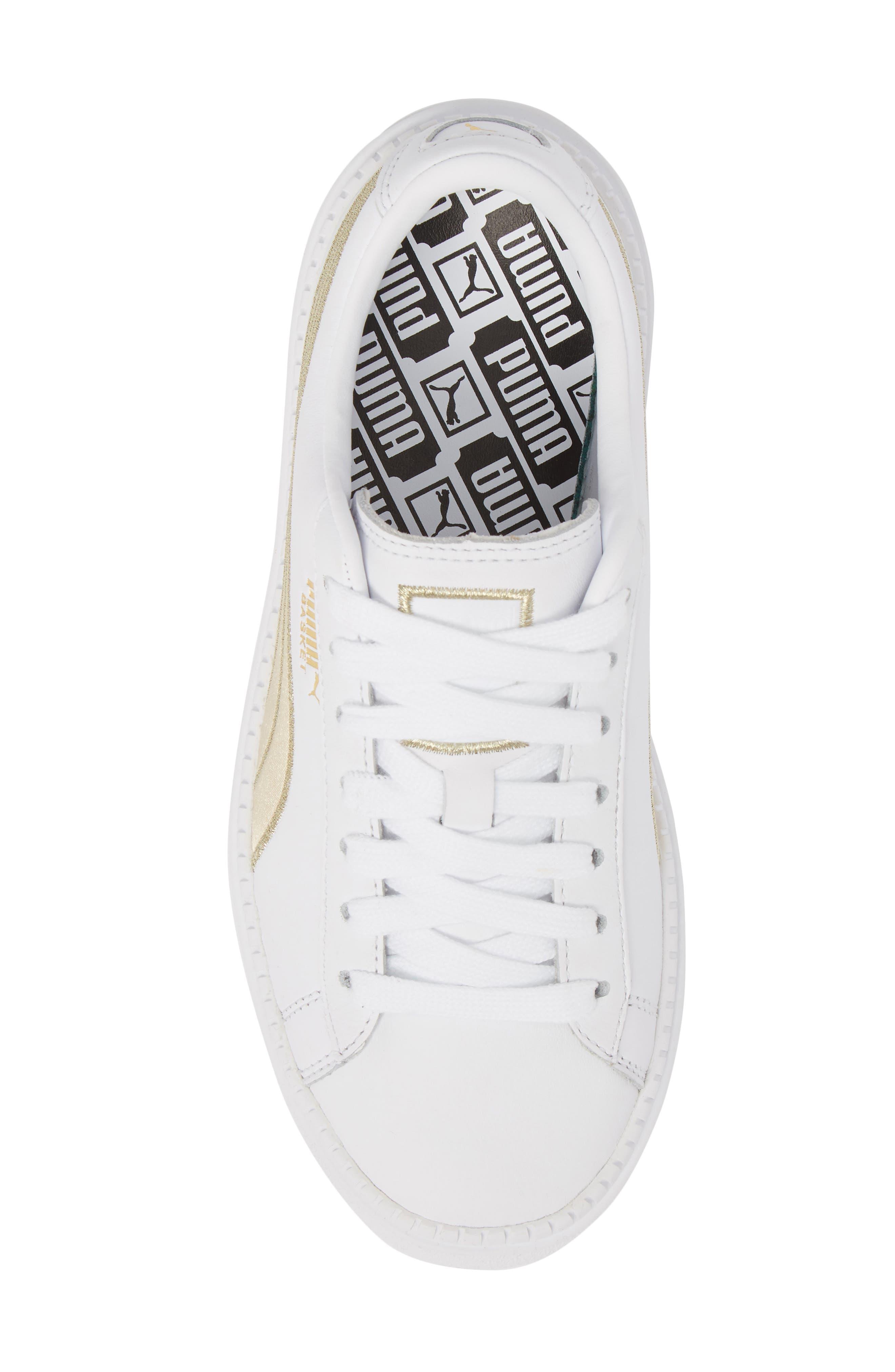 Platform Trace Sneaker,                             Alternate thumbnail 3, color,                             Puma White/ Metallic Gold