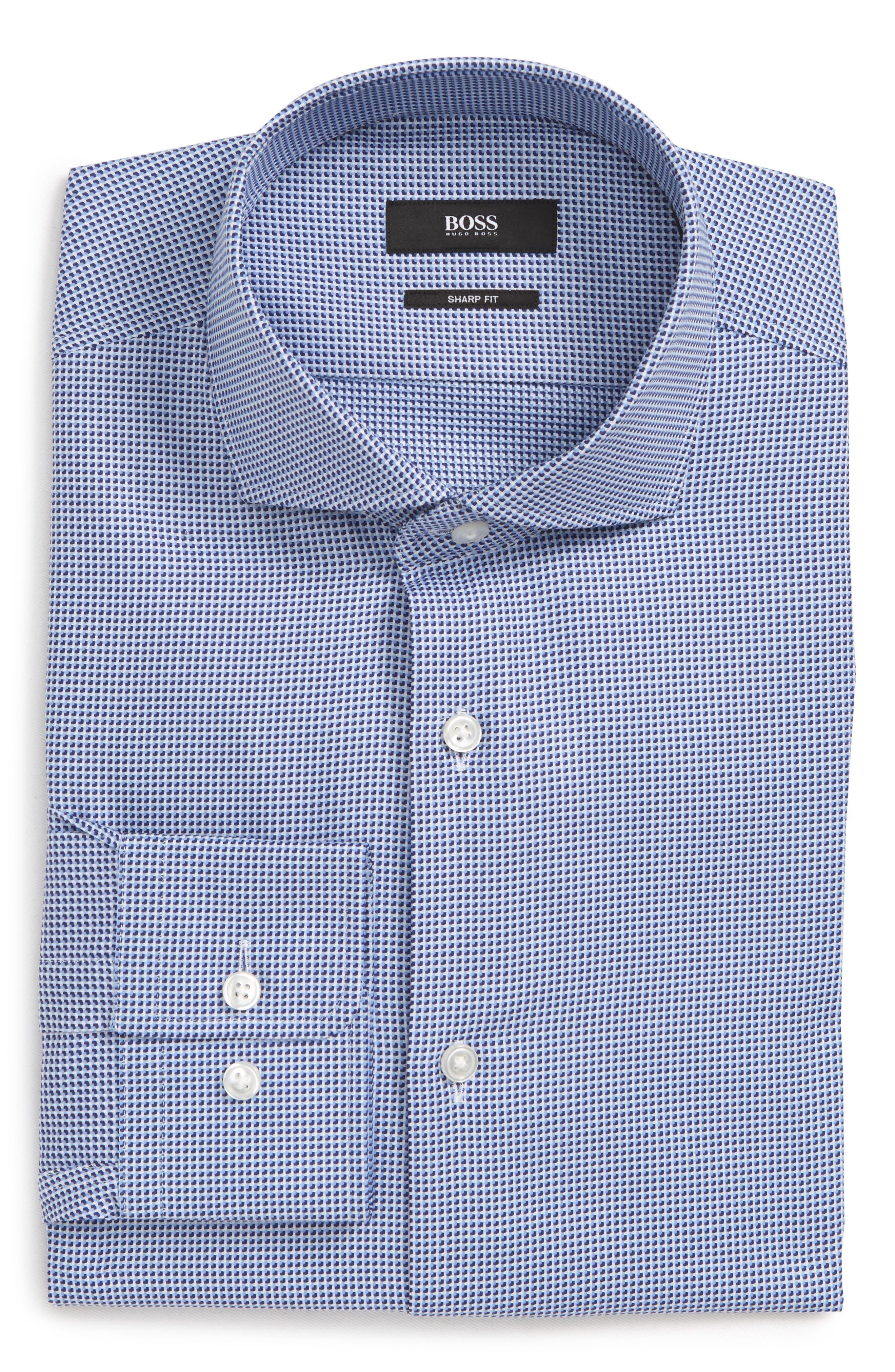 Sharp Fit Mark Micro Grid Dress Shirt,                             Alternate thumbnail 6, color,                             Navy
