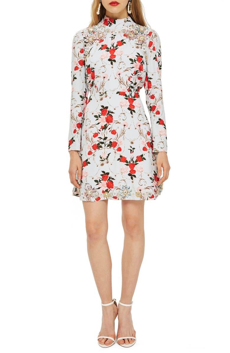 Rose Ornate Print Dress