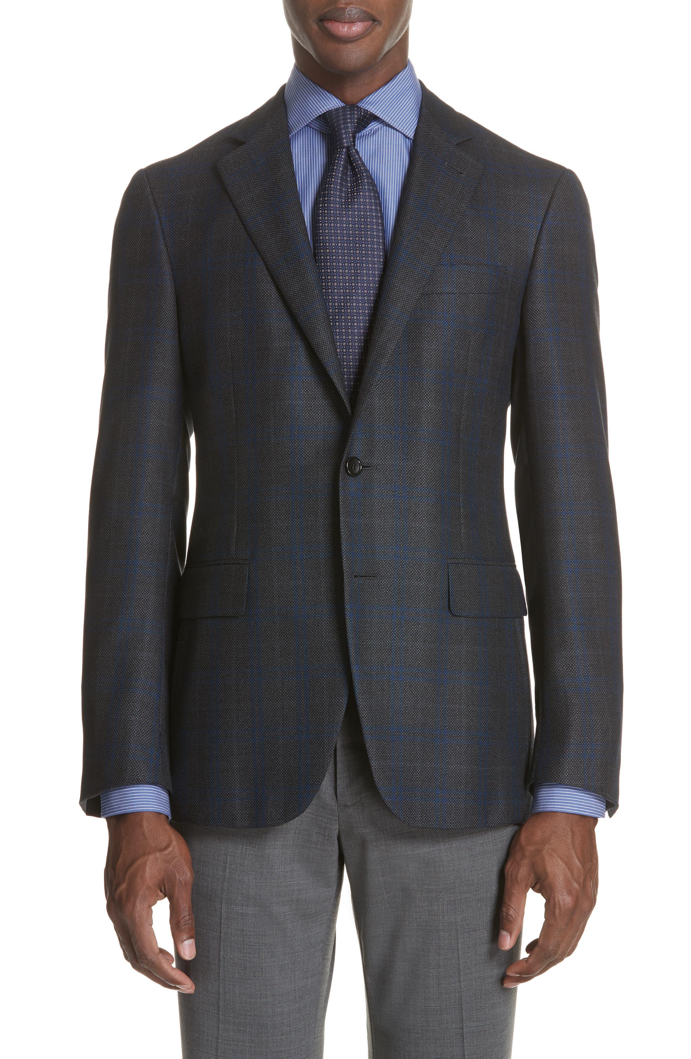 Classic Fit Plaid Silk & Wool Sport Coat,                         Main,                         color, Charcoal