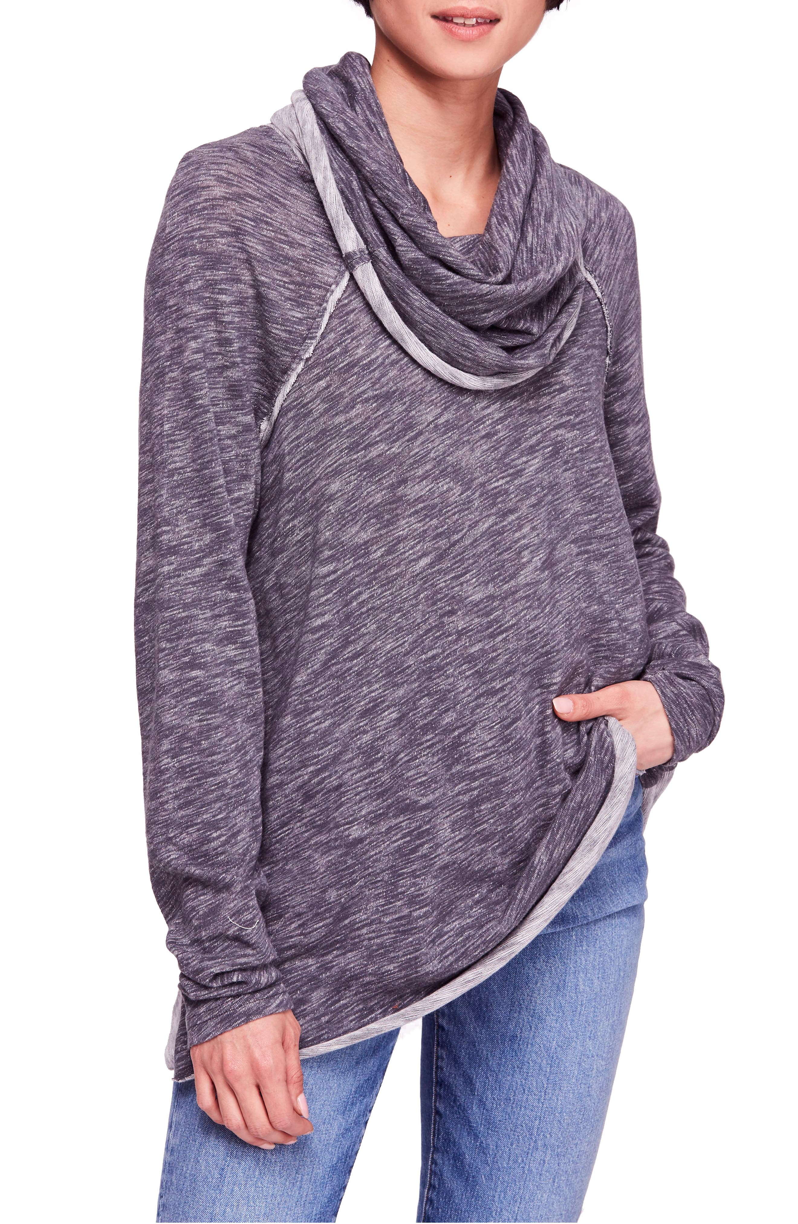 Cocoon Cowl Neck Top,                         Main,                         color, Charcoal