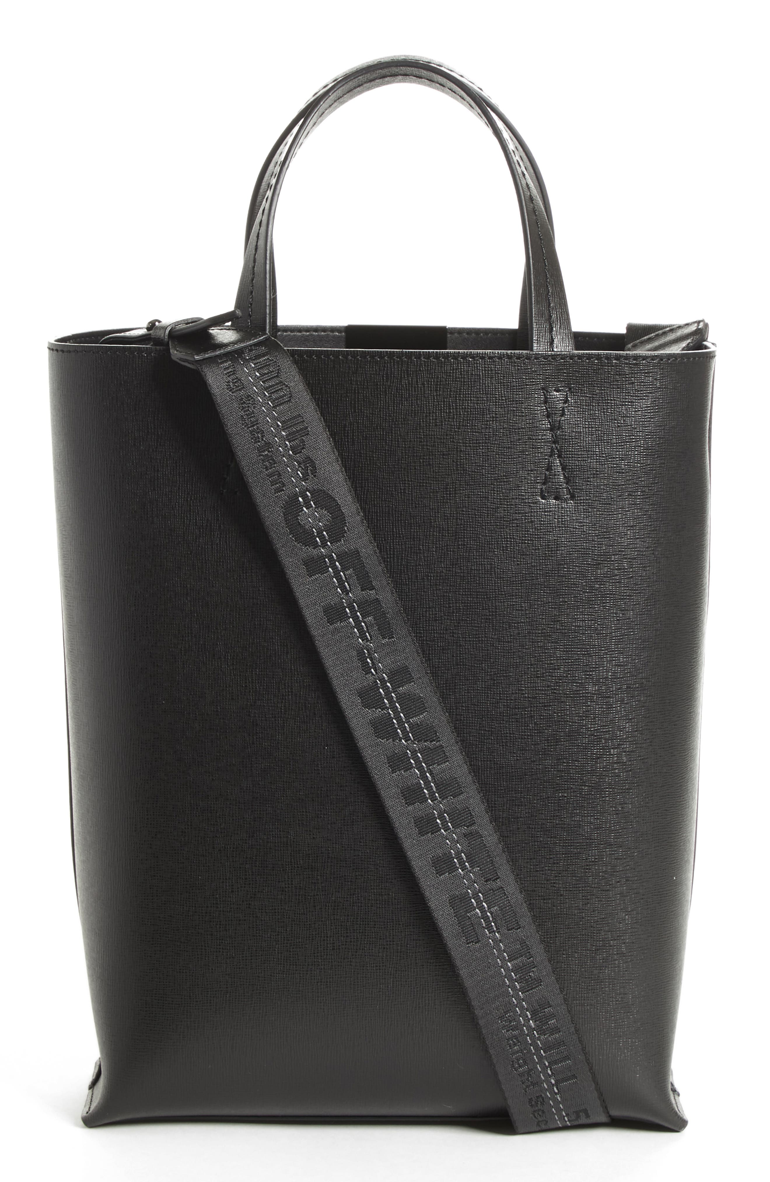 Medium New Sculpture Leather Tote,                             Alternate thumbnail 3, color,                             Black White