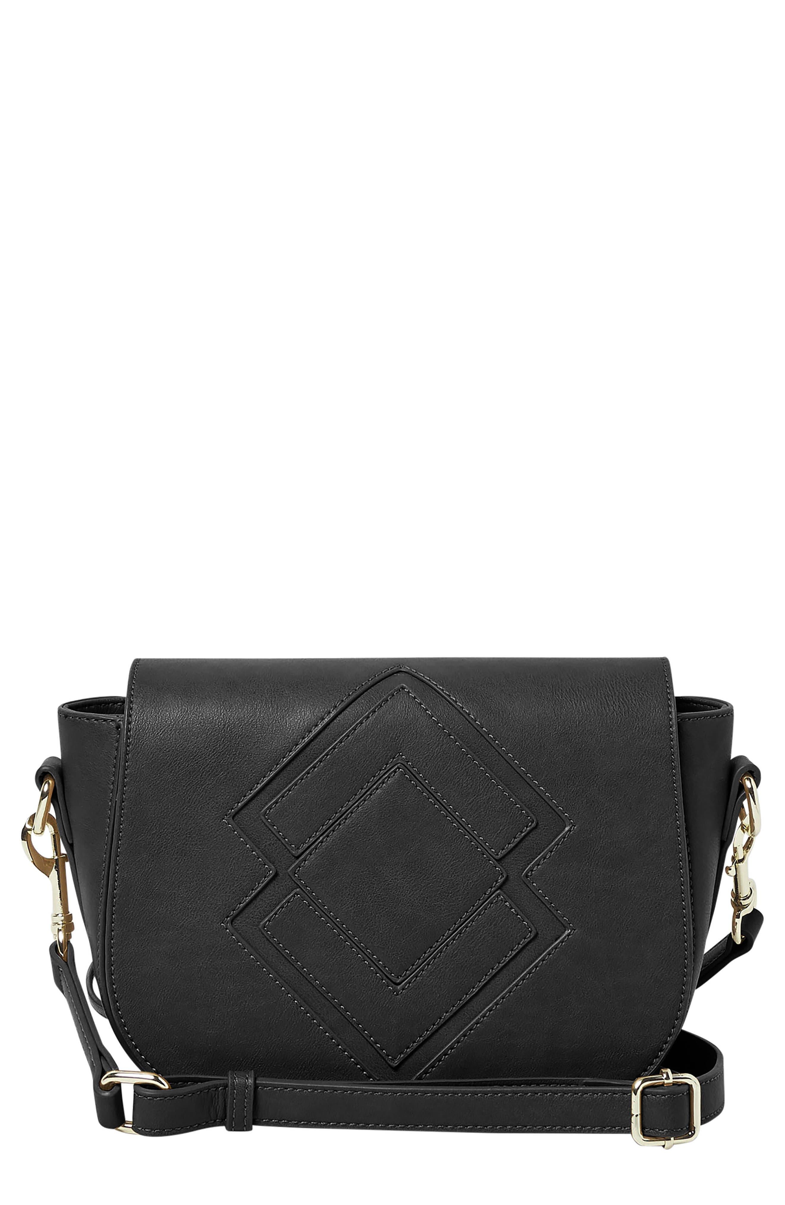 Ventura Vegan Leather Crossbody Bag,                             Main thumbnail 1, color,                             Black