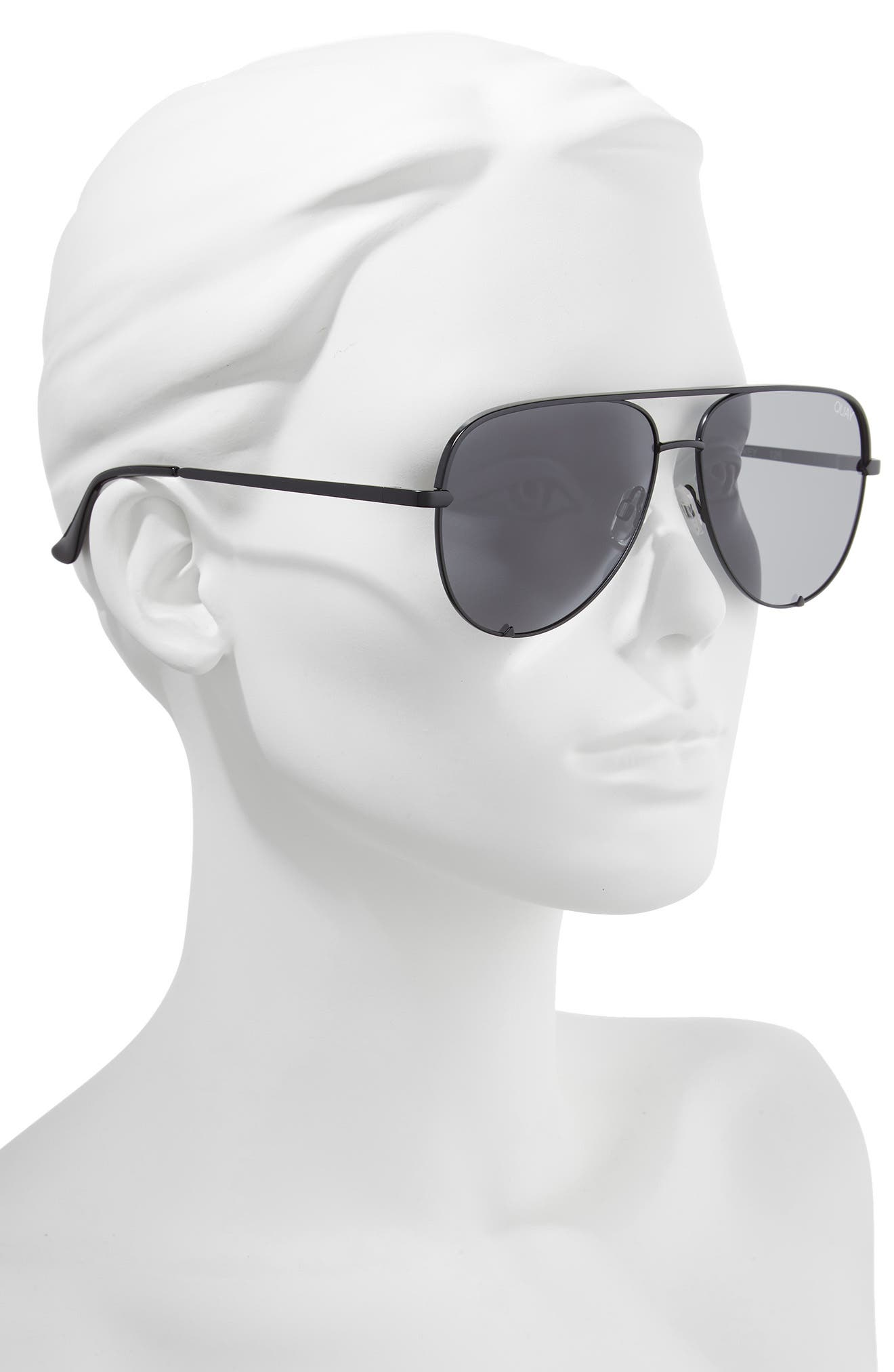 x Desi Perkins High Key 62mm Aviator Sunglasses,                             Alternate thumbnail 3, color,                             Black/ Smoke