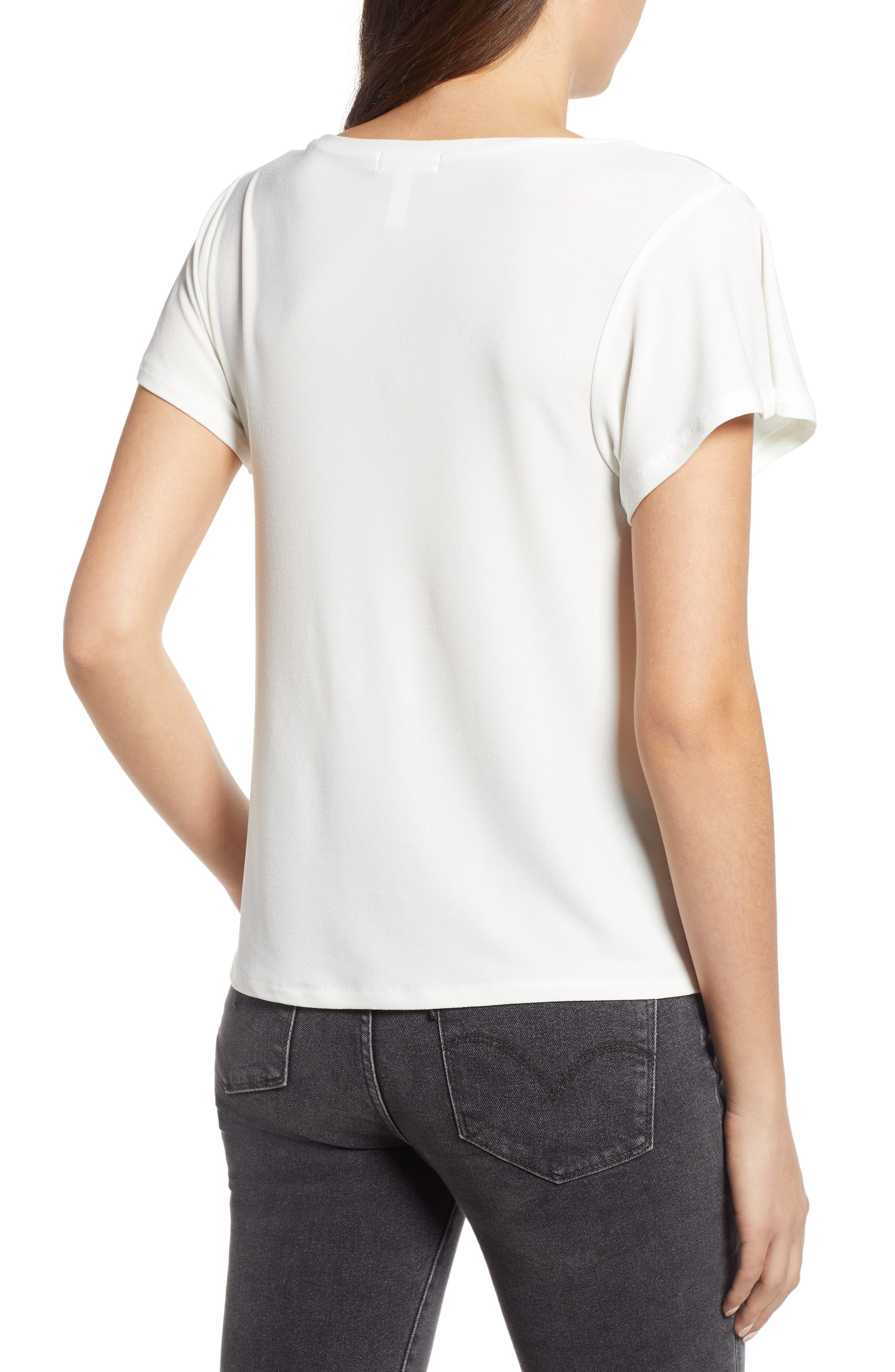 Side Knot Tee,                             Alternate thumbnail 2, color,                             Ivory