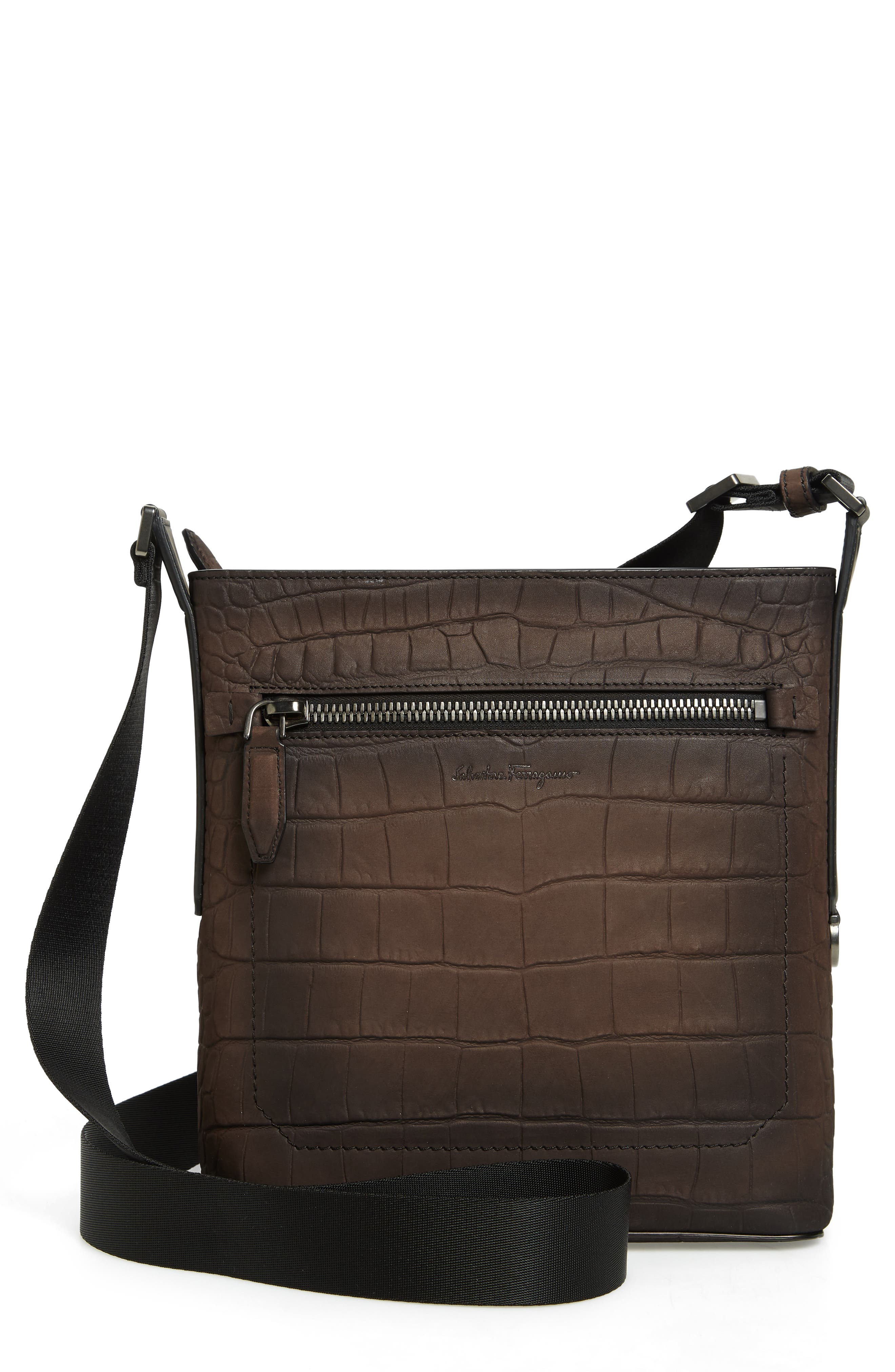 FIRENZE LEATHER CROSSBODY BAG - BROWN
