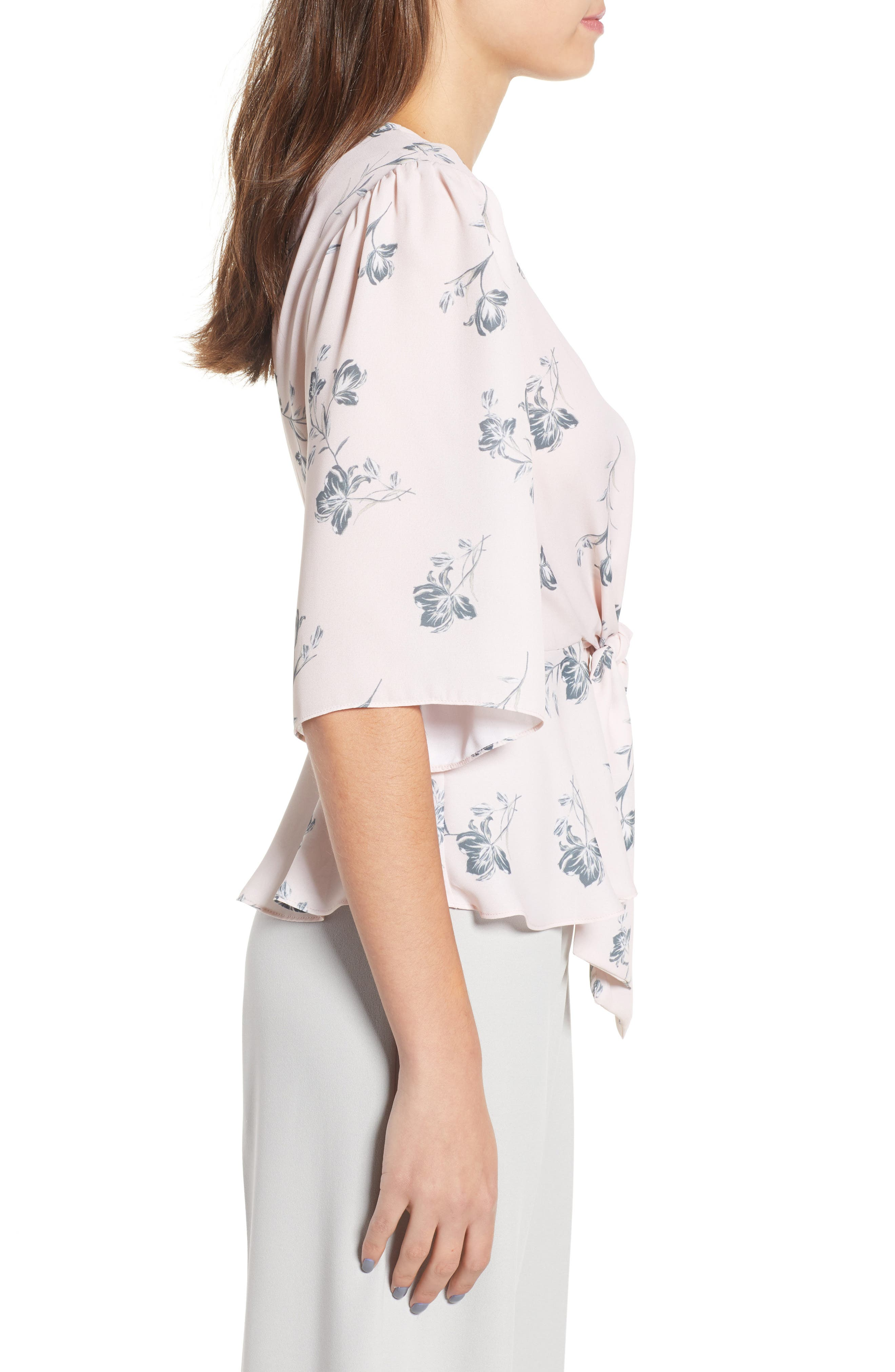 Plunging Knot Front Top,                             Alternate thumbnail 3, color,                             Rose Cloud Floral