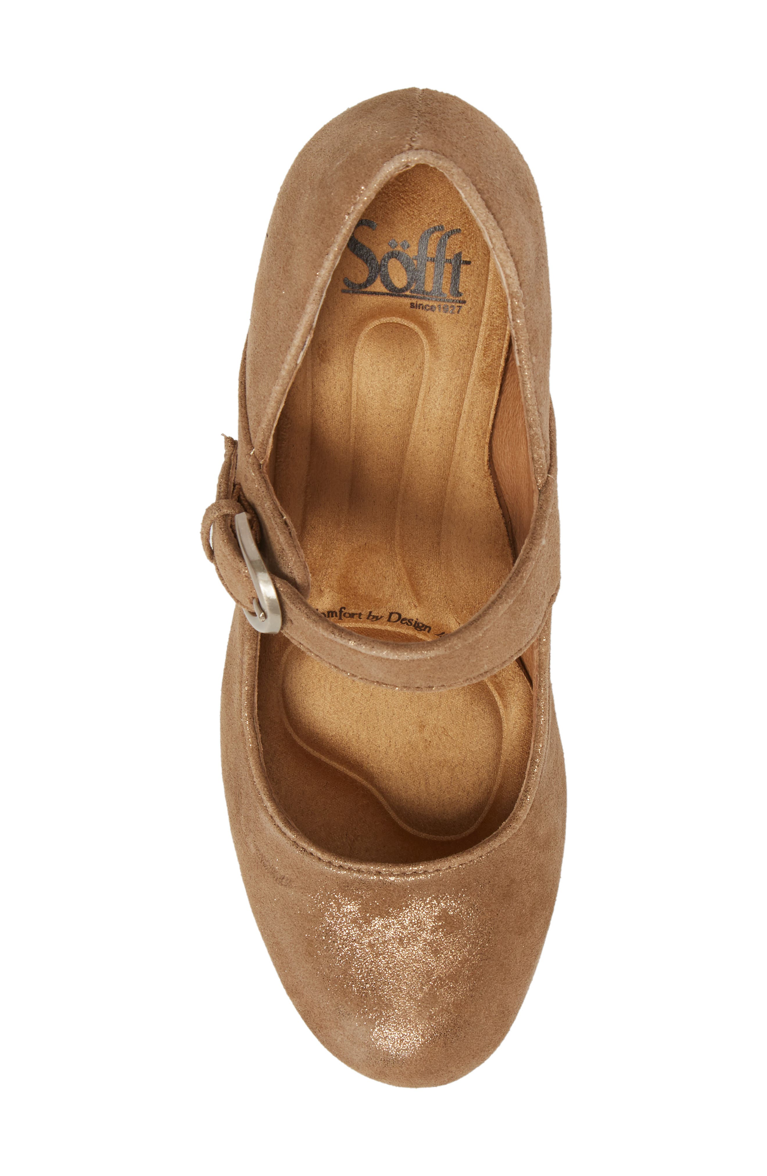 'Miranda' Mary Jane Pump,                             Alternate thumbnail 3, color,                             Gold Distressed Foil Suede