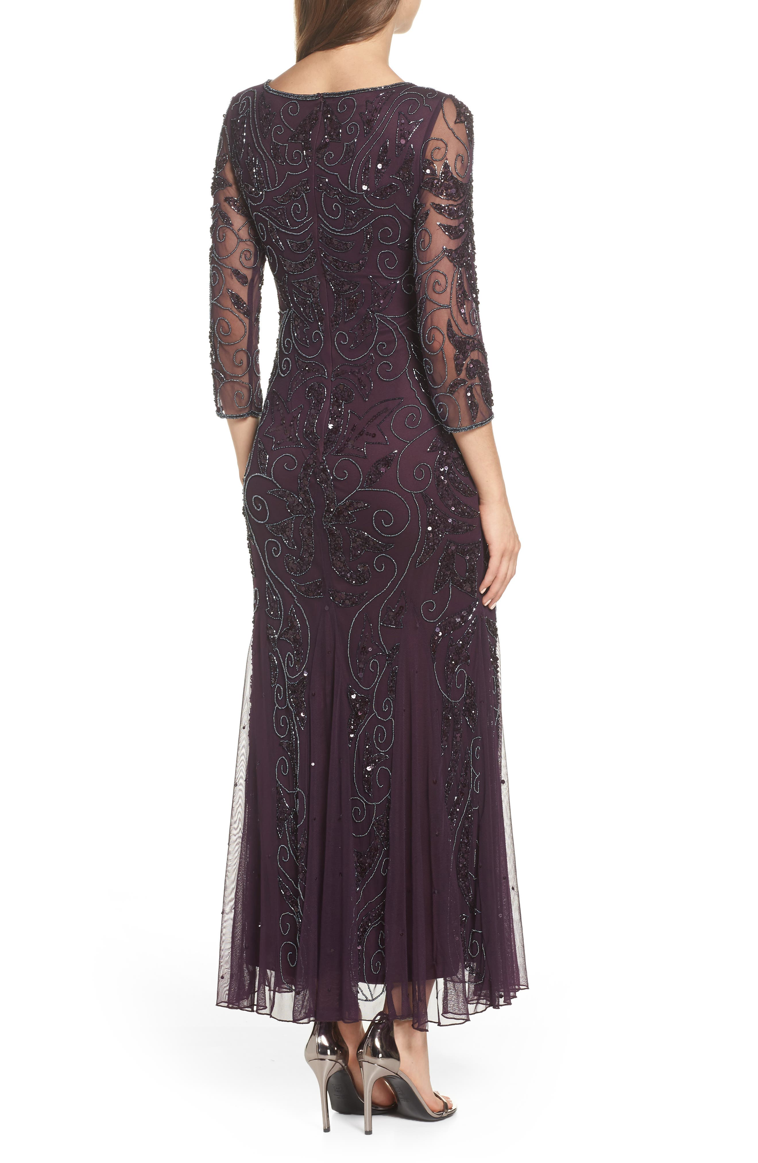 Embellished Mesh Gown,                             Alternate thumbnail 2, color,                             Wine/ Gunmetal