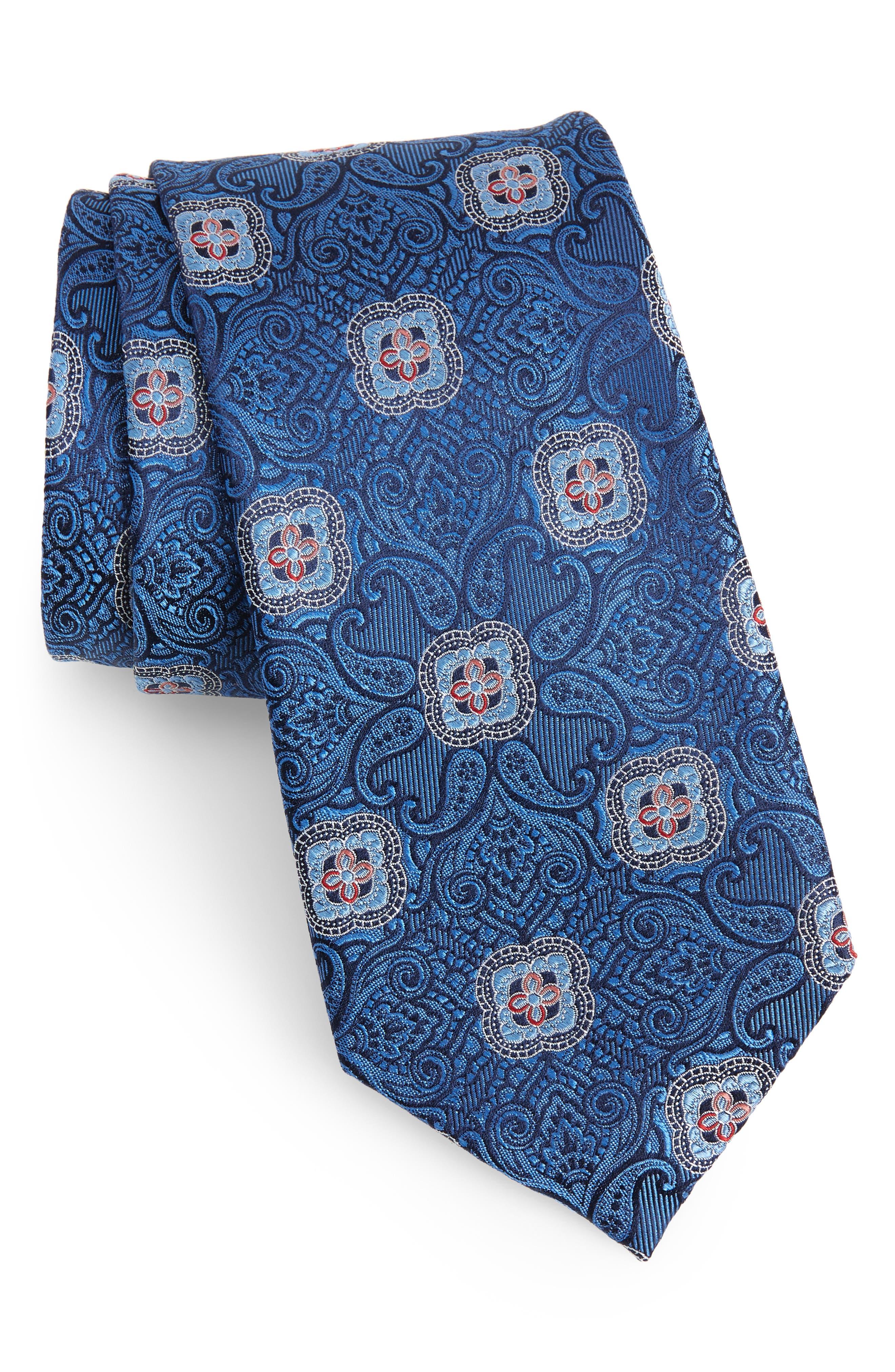Alvarez Medallion Silk Tie,                             Main thumbnail 1, color,                             Blue