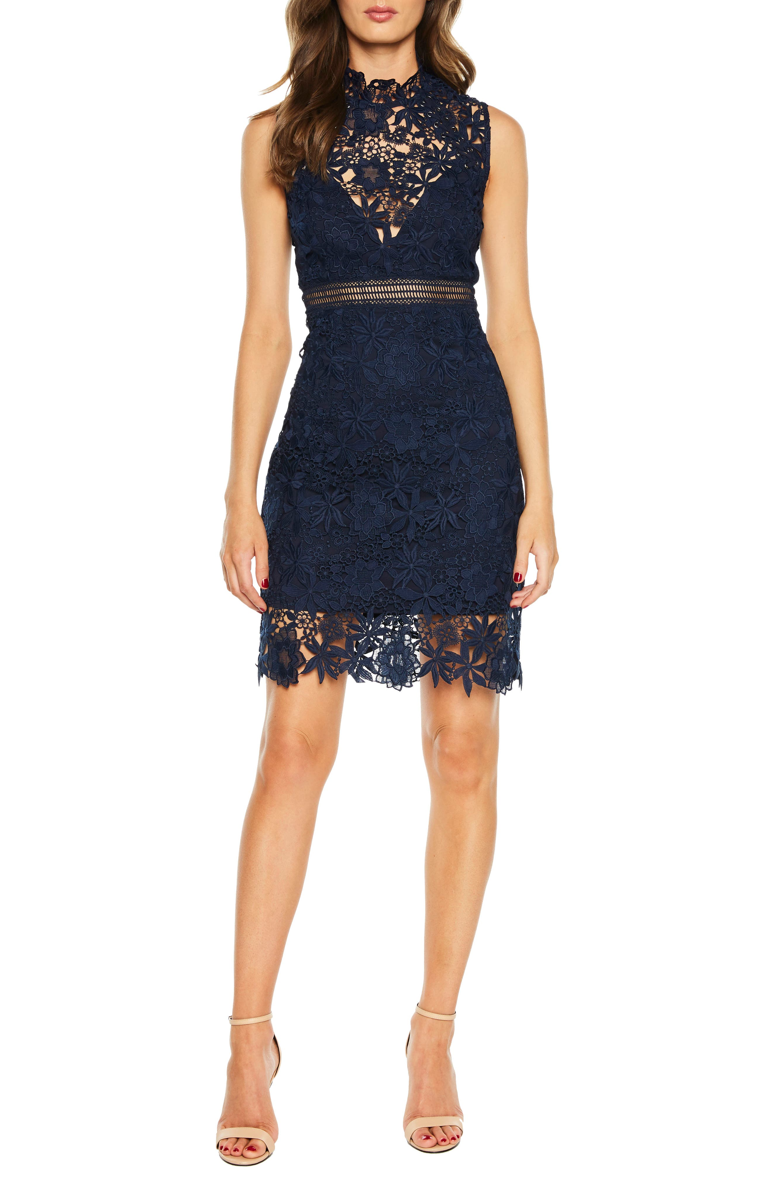 Paris Lace Body-Con Dress,                         Main,                         color, Twilight