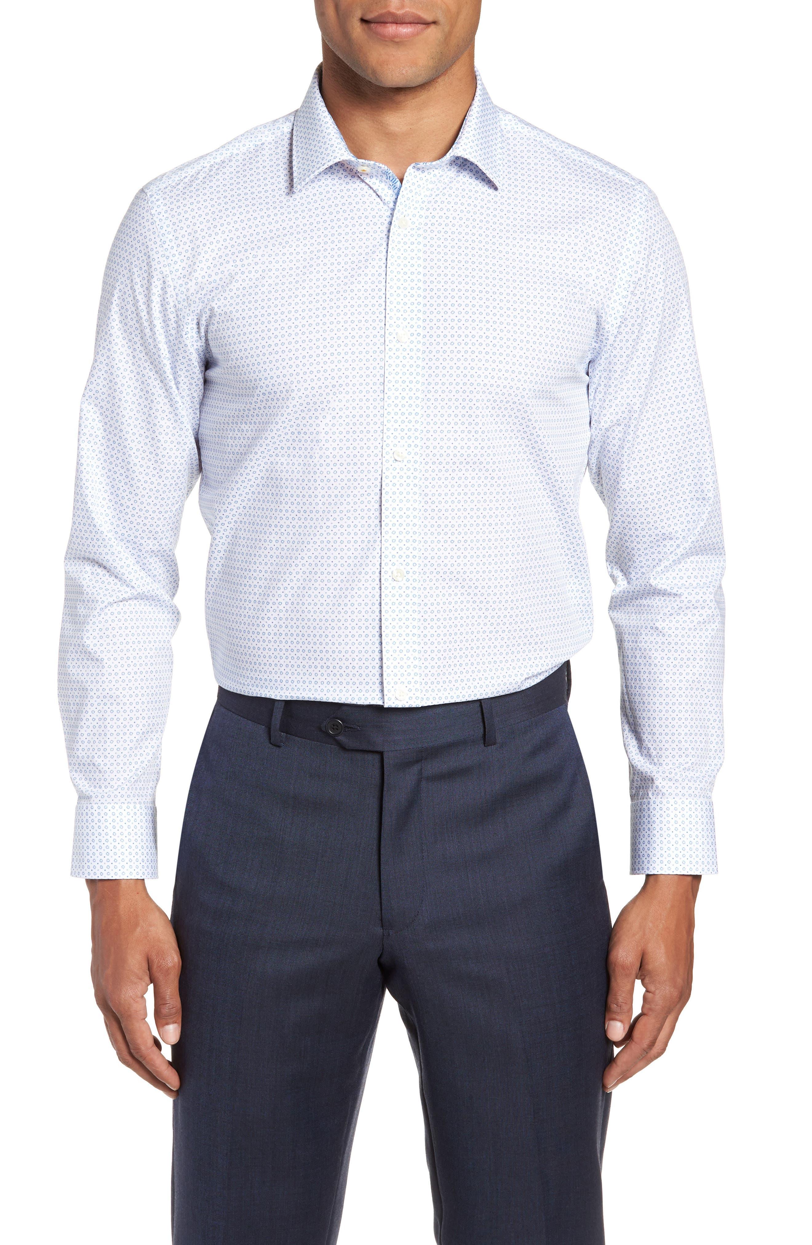 Trim Fit Geometric Dress Shirt,                             Main thumbnail 1, color,                             Blue