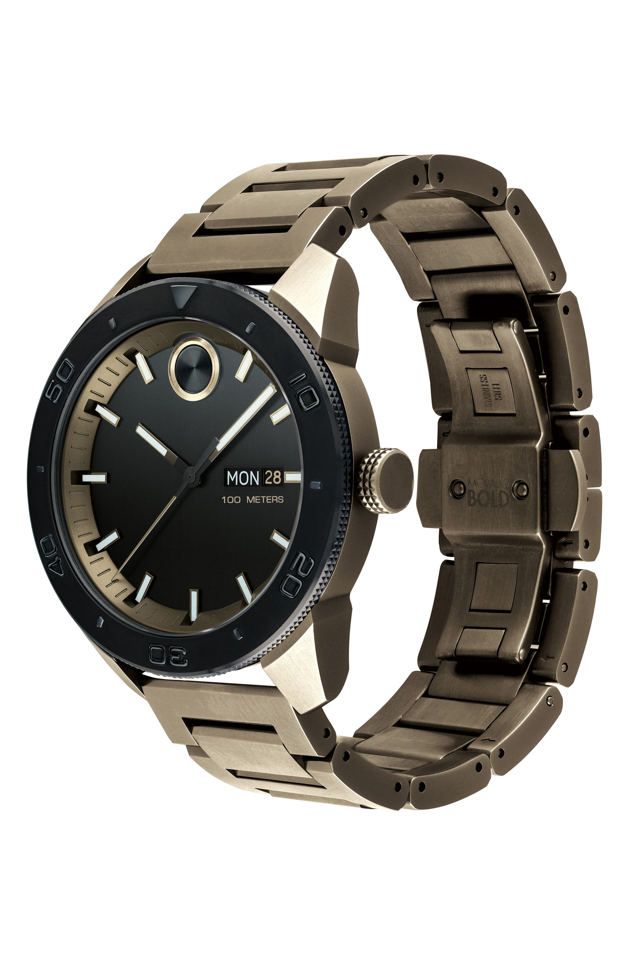 Bold Bracelet Watch, 43.5mm,                             Alternate thumbnail 3, color,                             Khaki/ Black