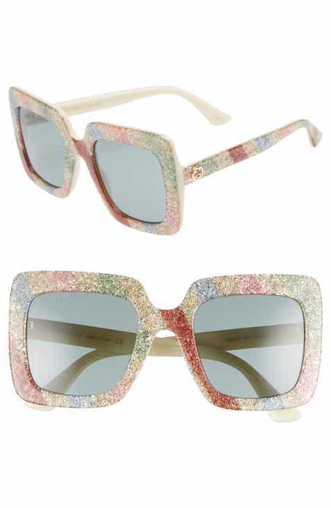 1ae60d733dd Gucci 53mm Glitter Stripe Square Sunglasses