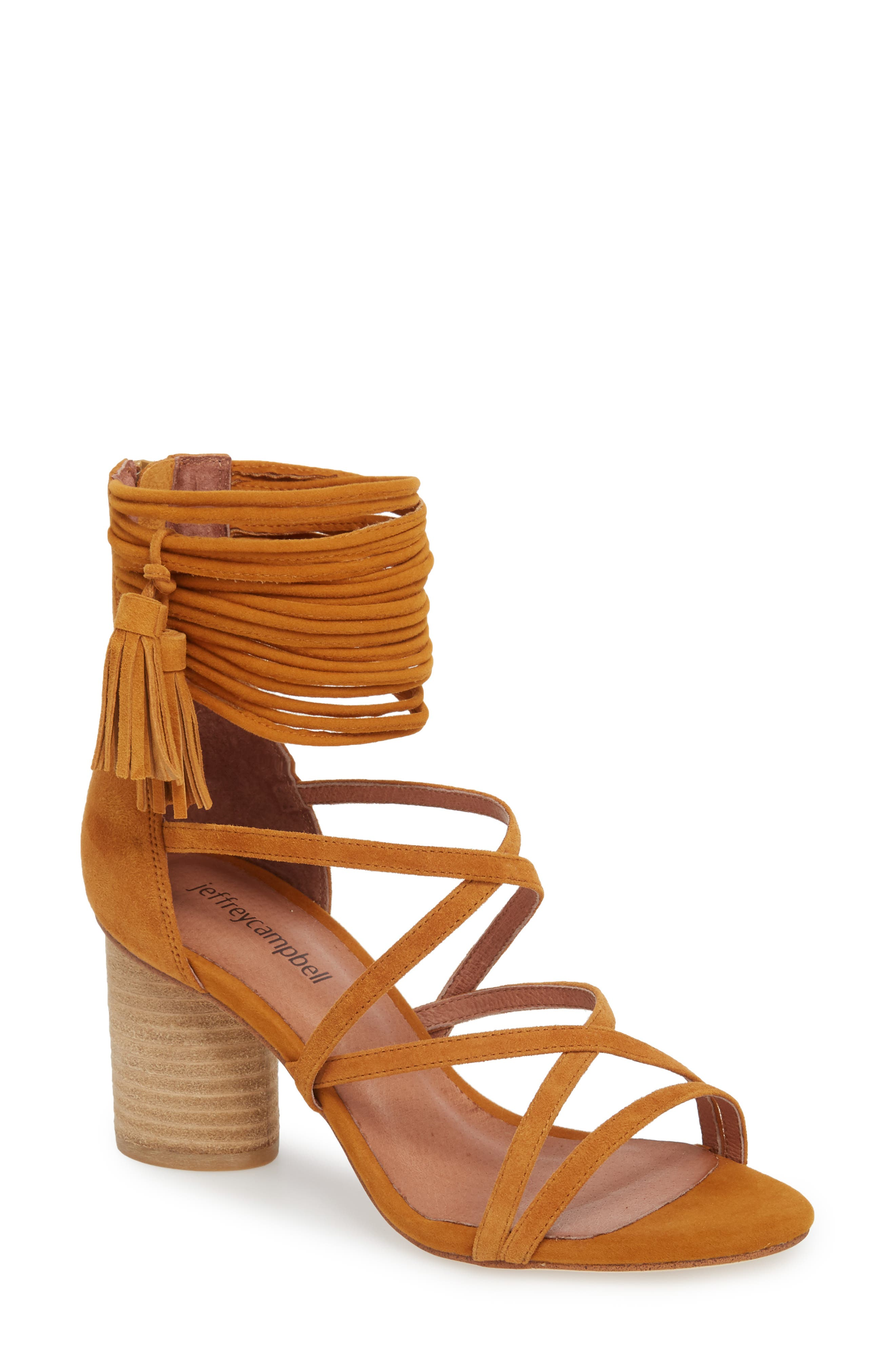 'Despina' Strappy Sandal,                             Main thumbnail 1, color,                             Mustard Suede