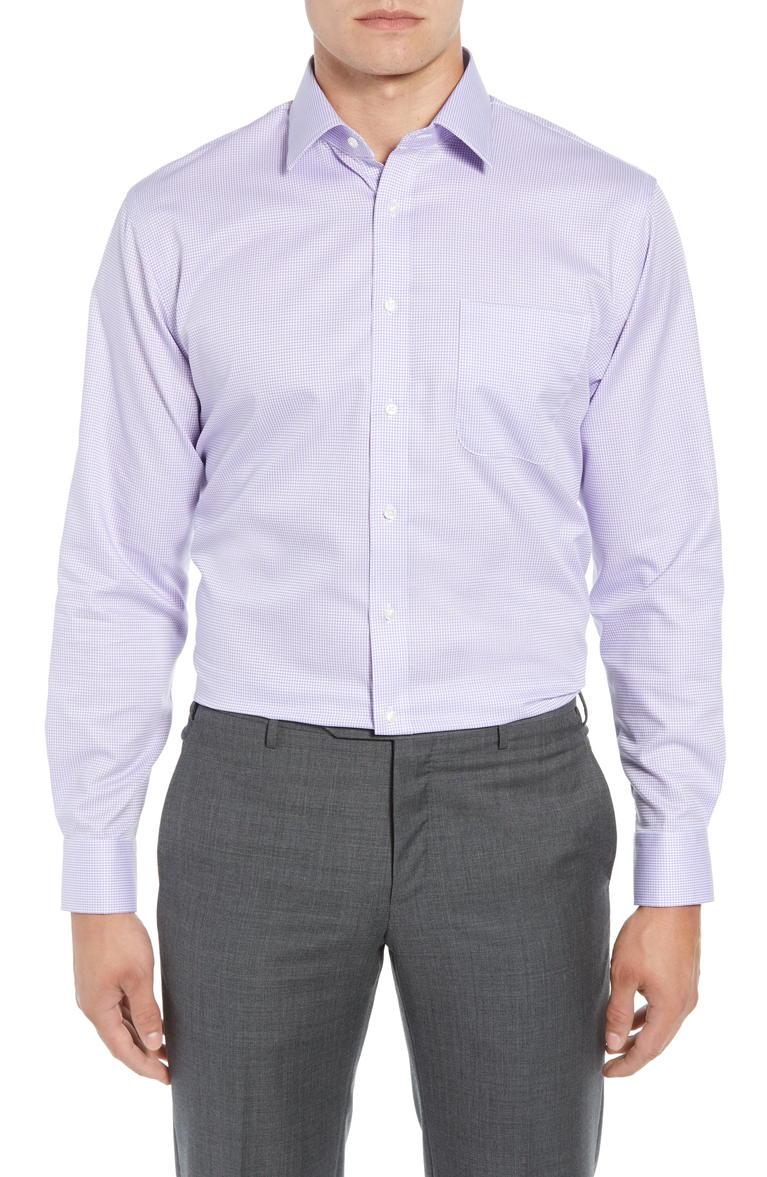 Traditional Fit Check Dress Shirt,                             Main thumbnail 1, color,                             Purple Chalk
