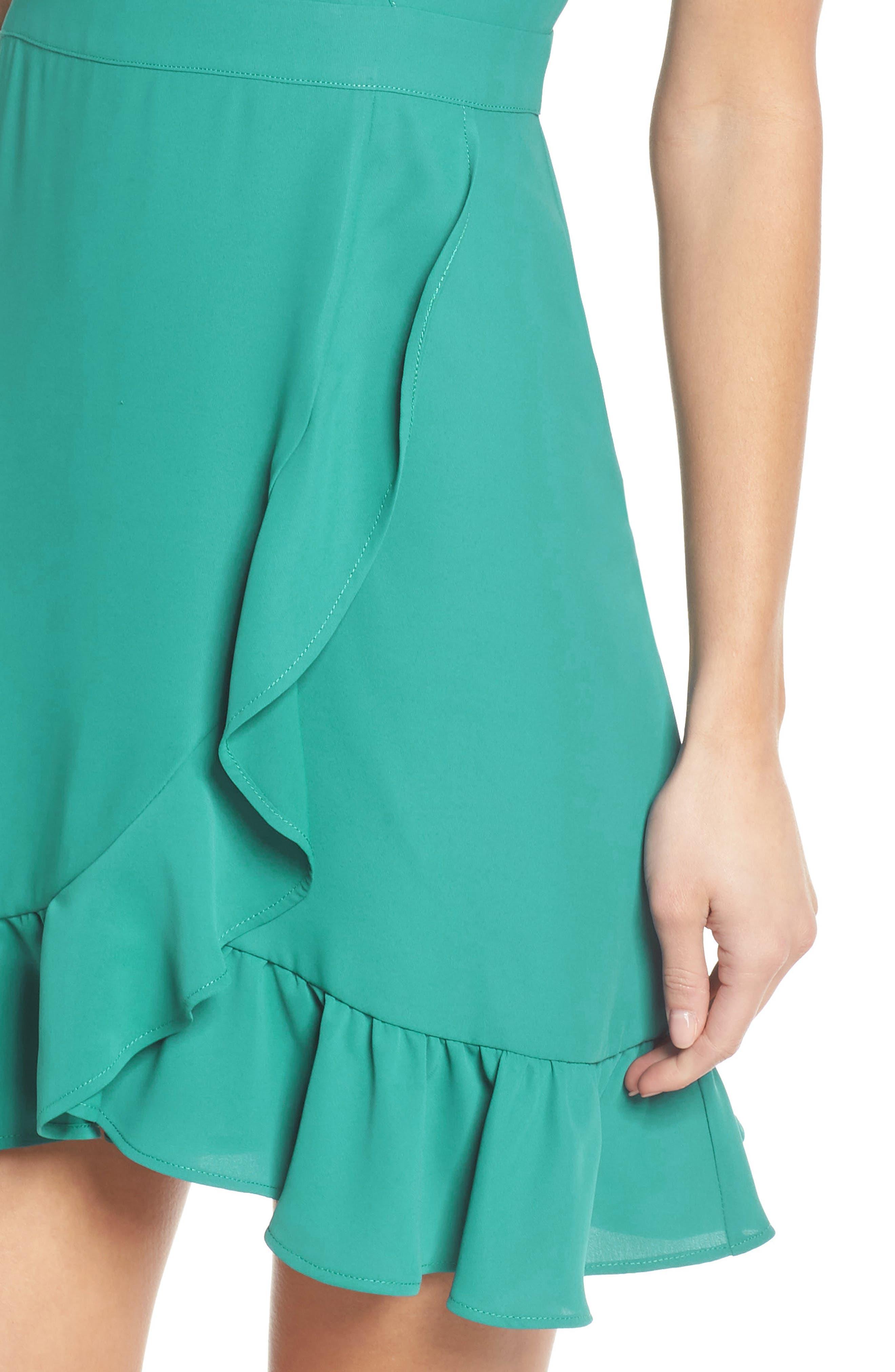 Crepe Skater Dress,                             Alternate thumbnail 4, color,                             Aquamarine