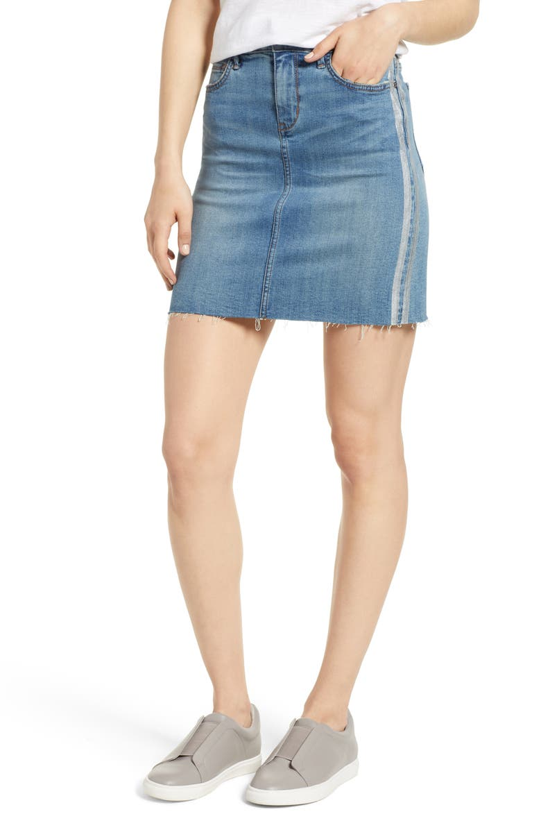 The Jenny Metallic Stripe Denim Miniskirt