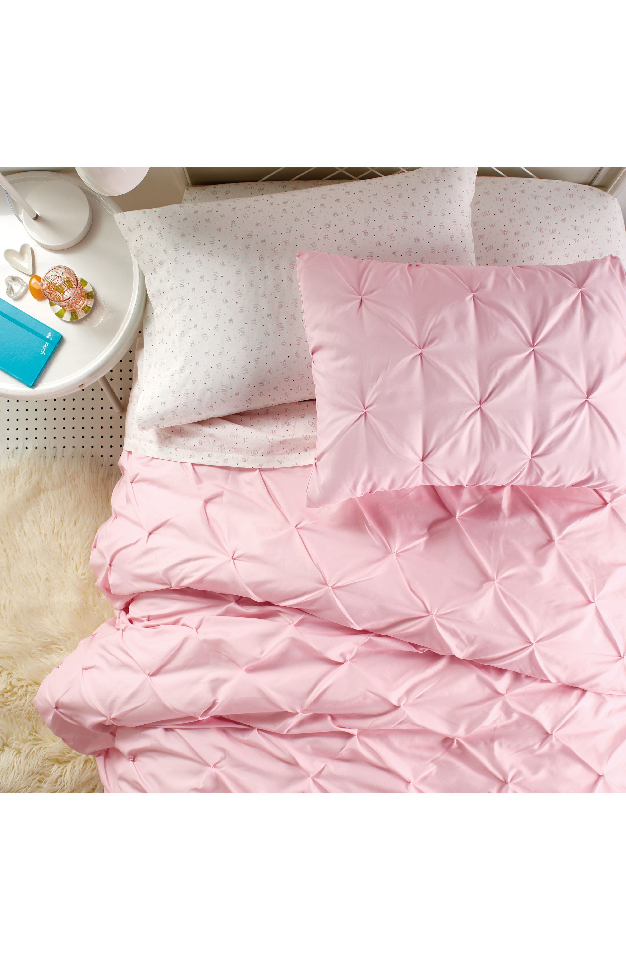 Duvet & Sham Set,                             Alternate thumbnail 4, color,                             Pink