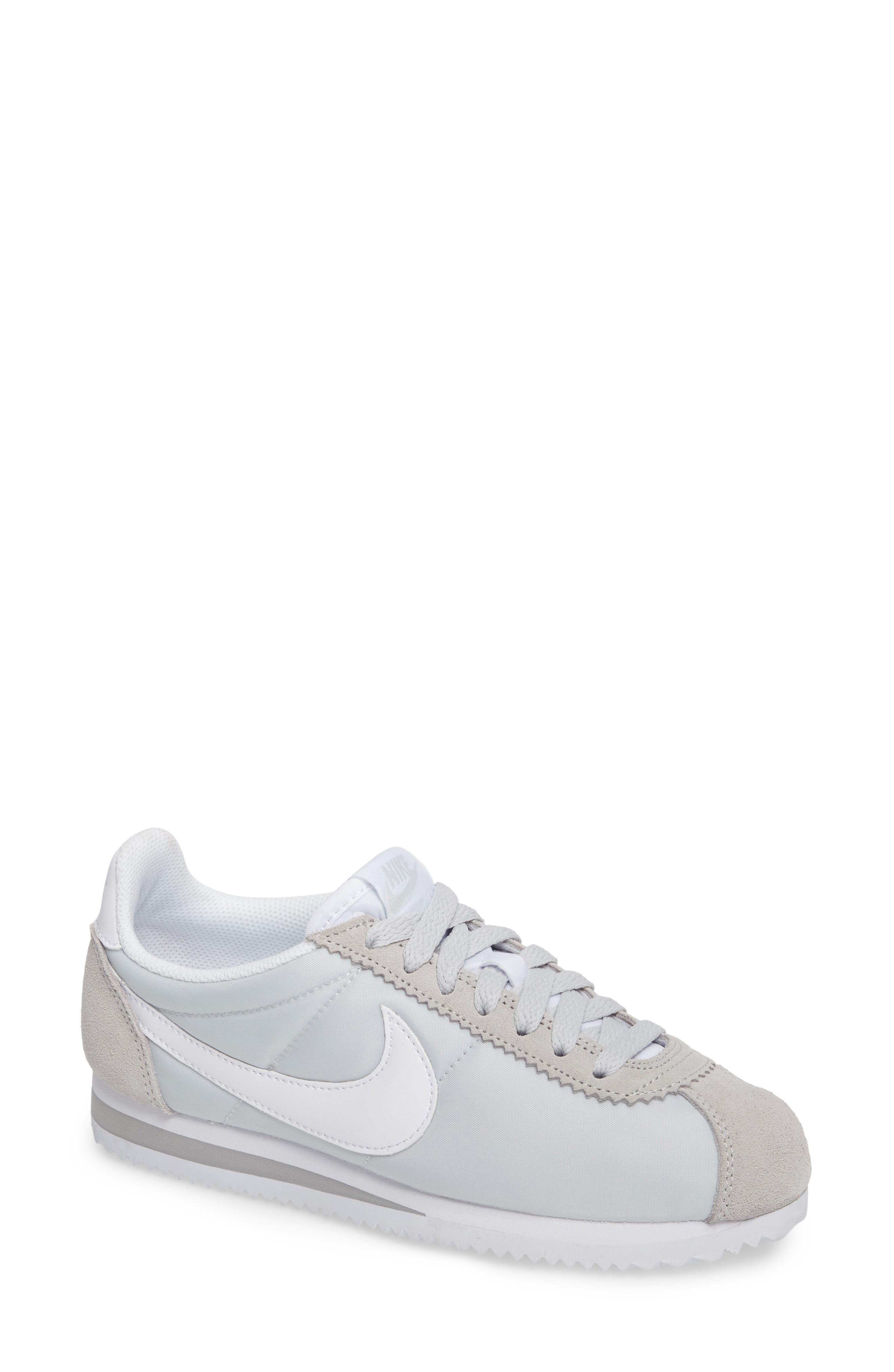 'Classic Cortez' Sneaker,                             Main thumbnail 1, color,                             Pure Platinum/ White