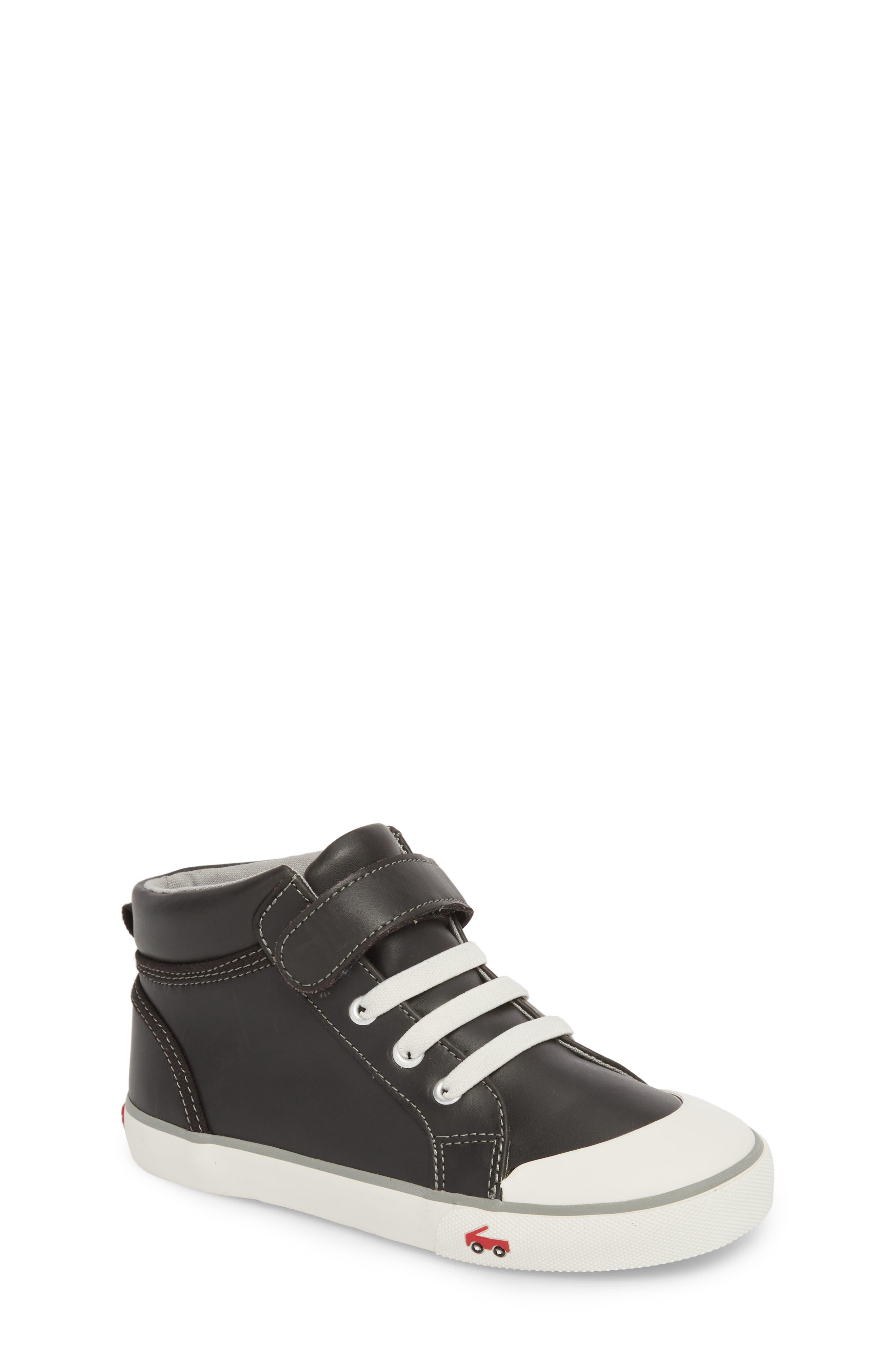 Peyton Metallic Mid Top Sneaker,                         Main,                         color, Black Leather