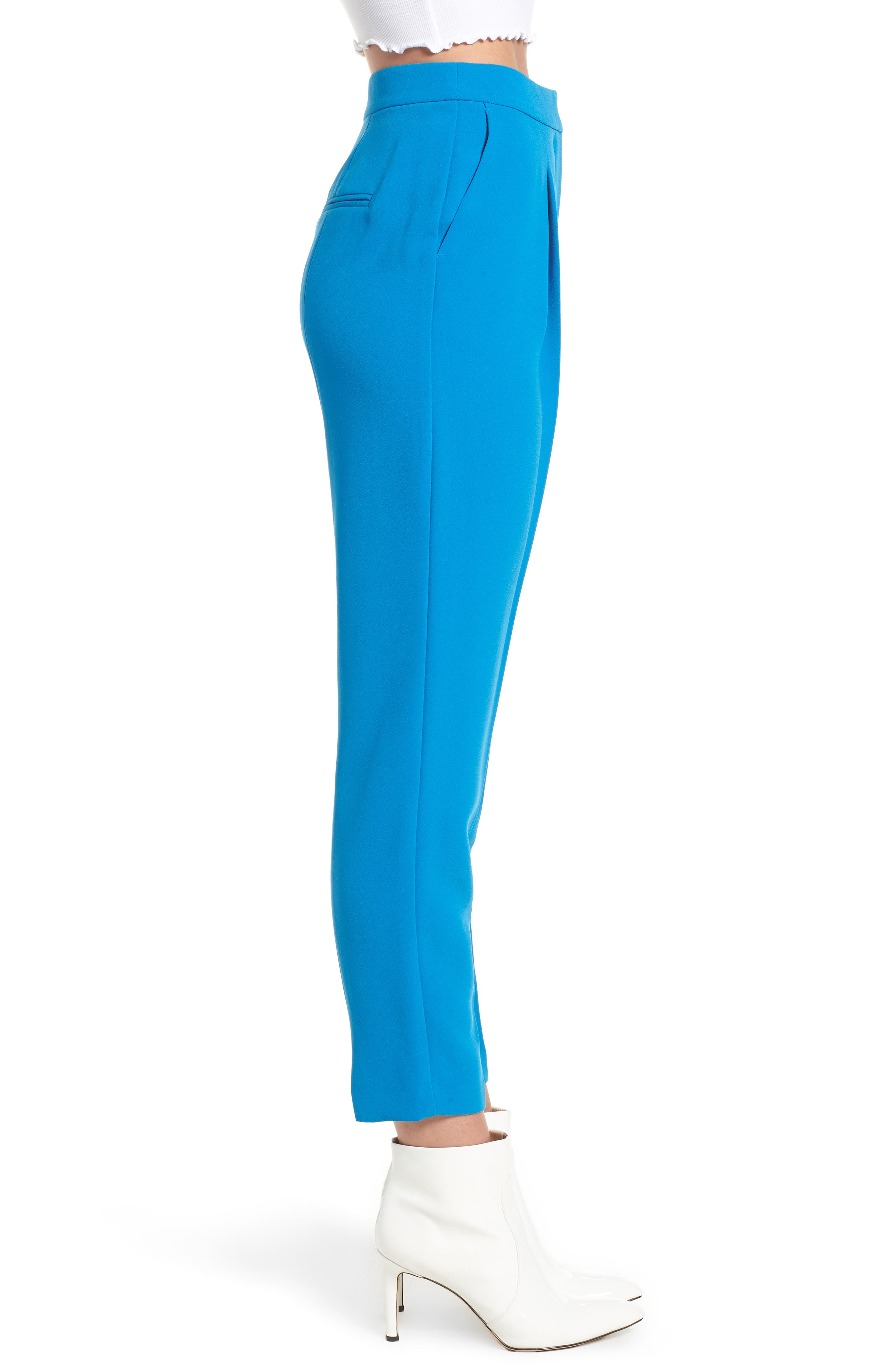 Clara Peg Belted Trousers,                             Alternate thumbnail 3, color,                             Cobalt