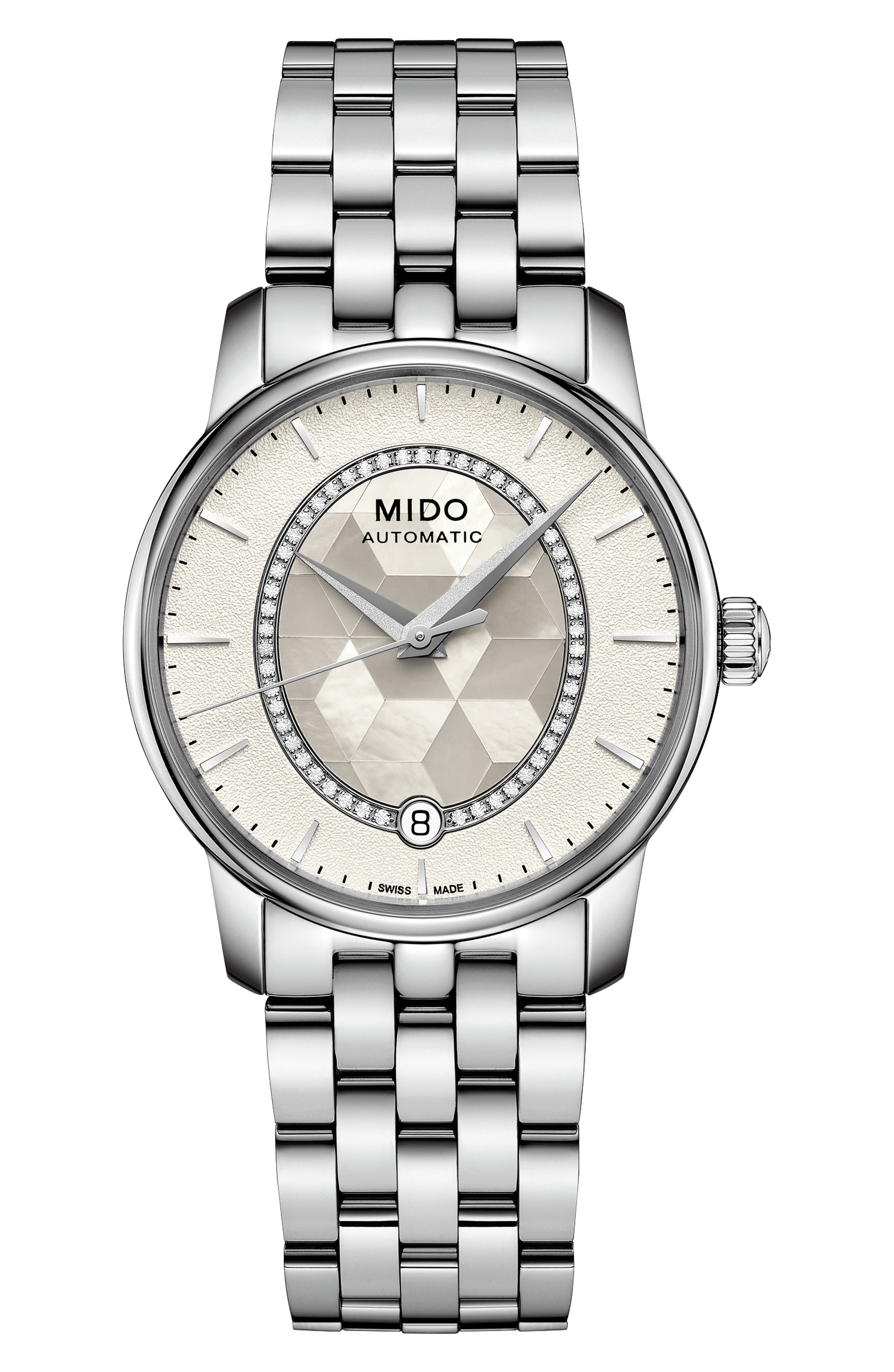 MIDO Baroncelli Ii Automatic Diamond Bracelet Watch, 33Mm in Silver/ White/ Silver
