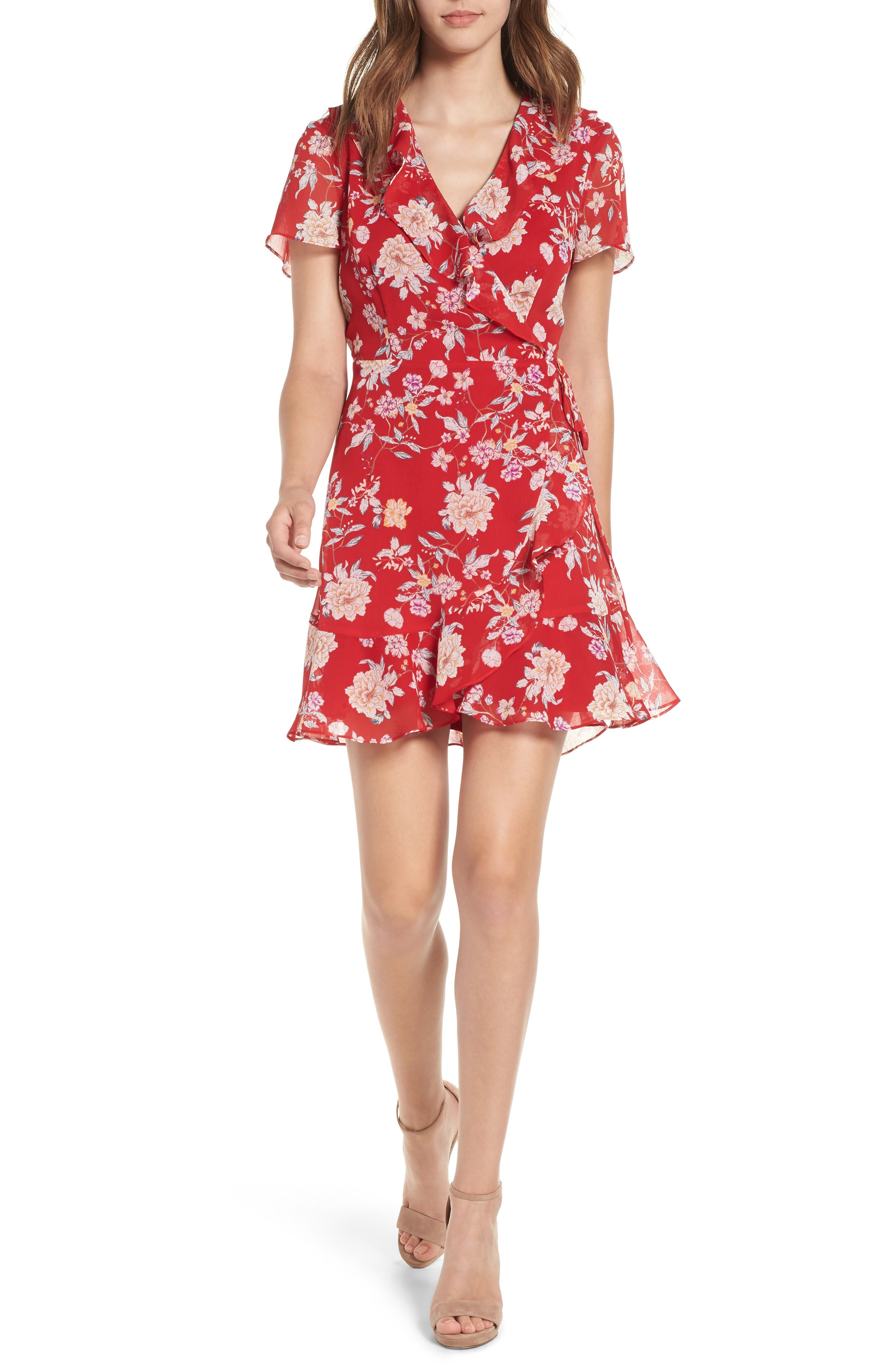 Colie Ruffle Wrap Dress,                             Main thumbnail 1, color,                             Red Floral
