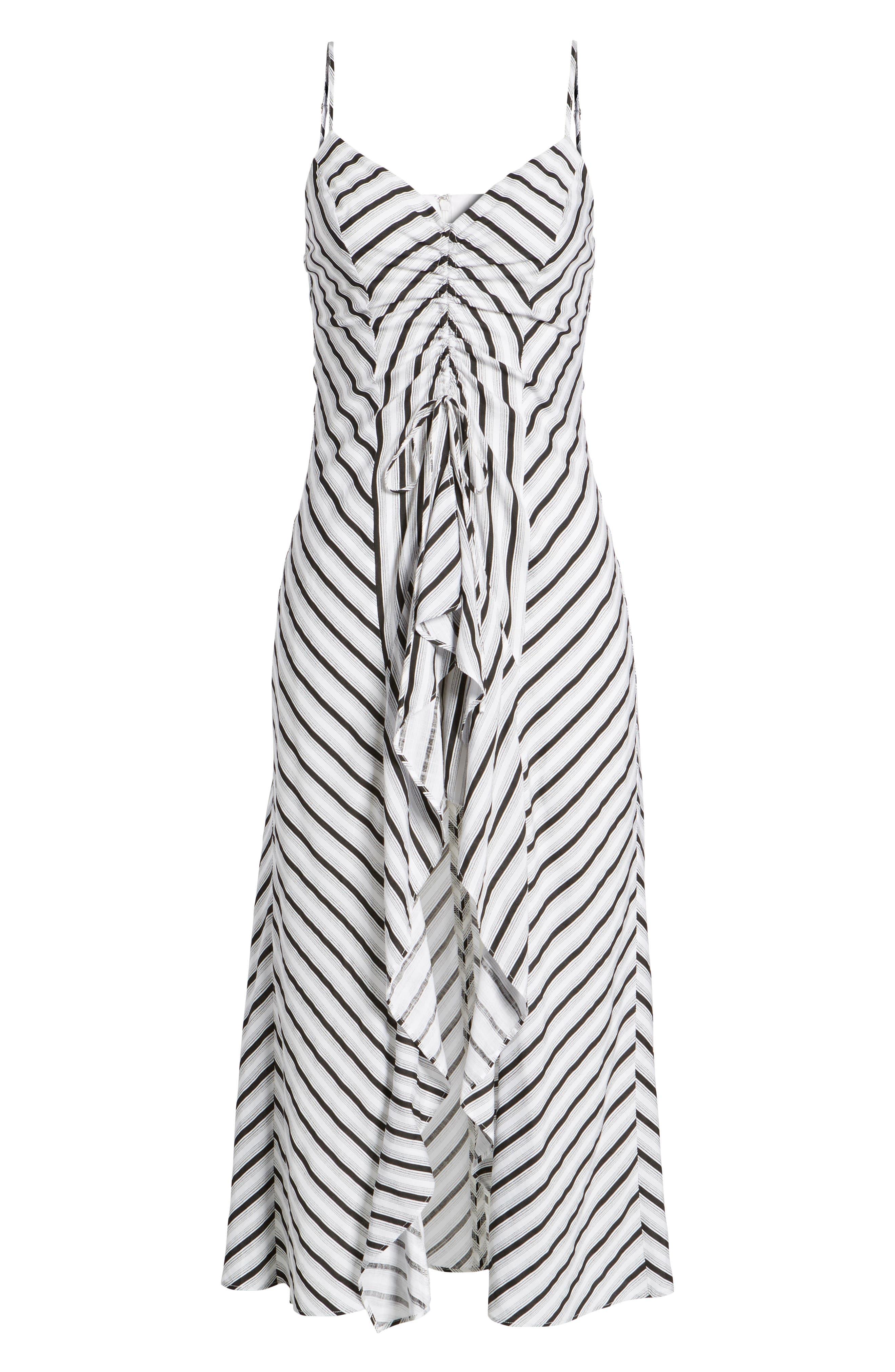 Stripe Gathered High/Low Dress,                             Alternate thumbnail 7, color,                             Black Stripe