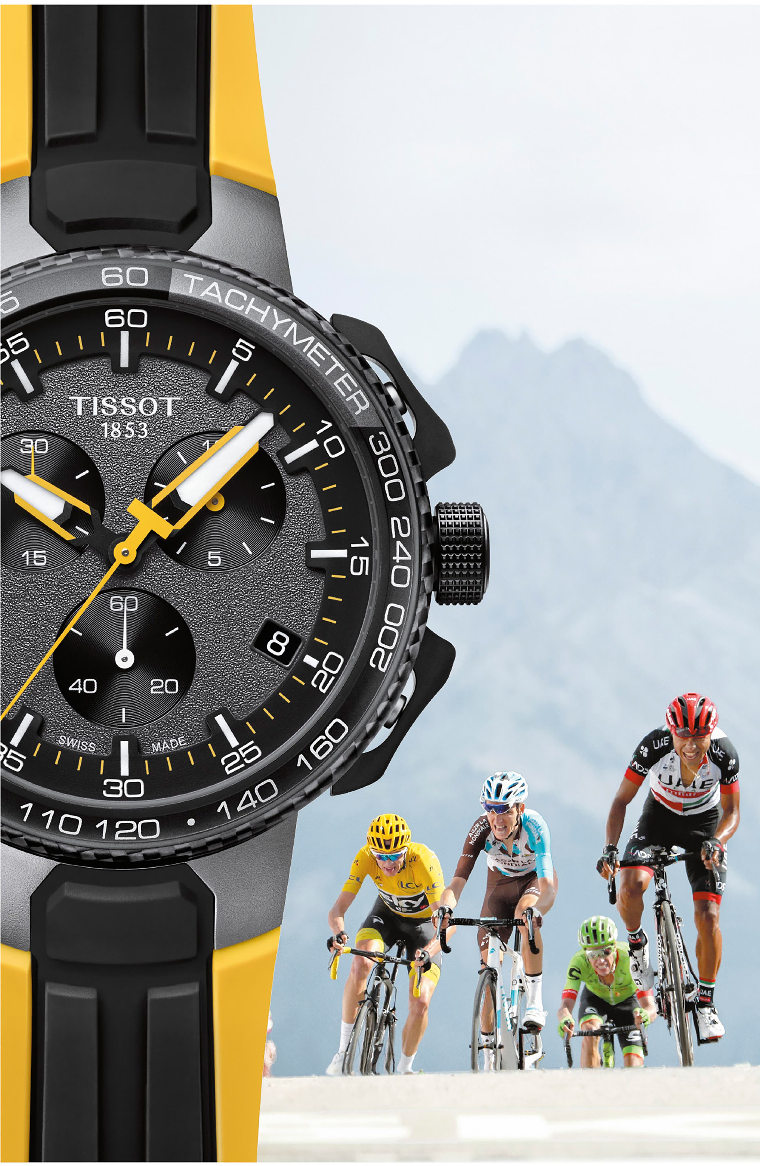 T-Race Tour de France Chronograph Silicone Strap Watch, 45mm,                             Alternate thumbnail 3, color,                             Yellow/ Black