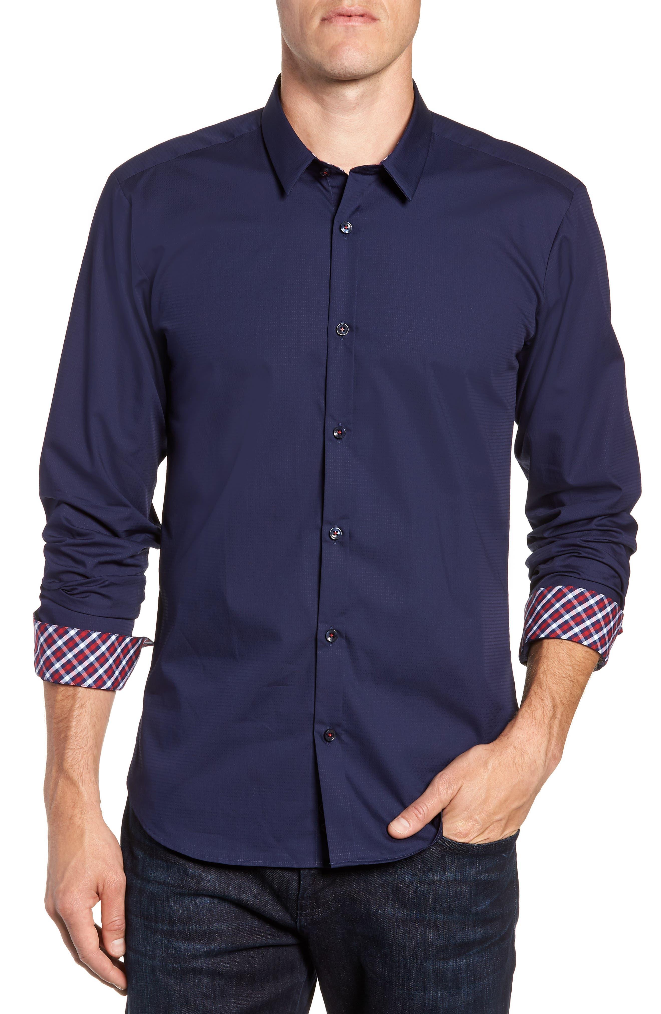 Trim Fit Sport Shirt,                             Main thumbnail 1, color,                             Navy Blue