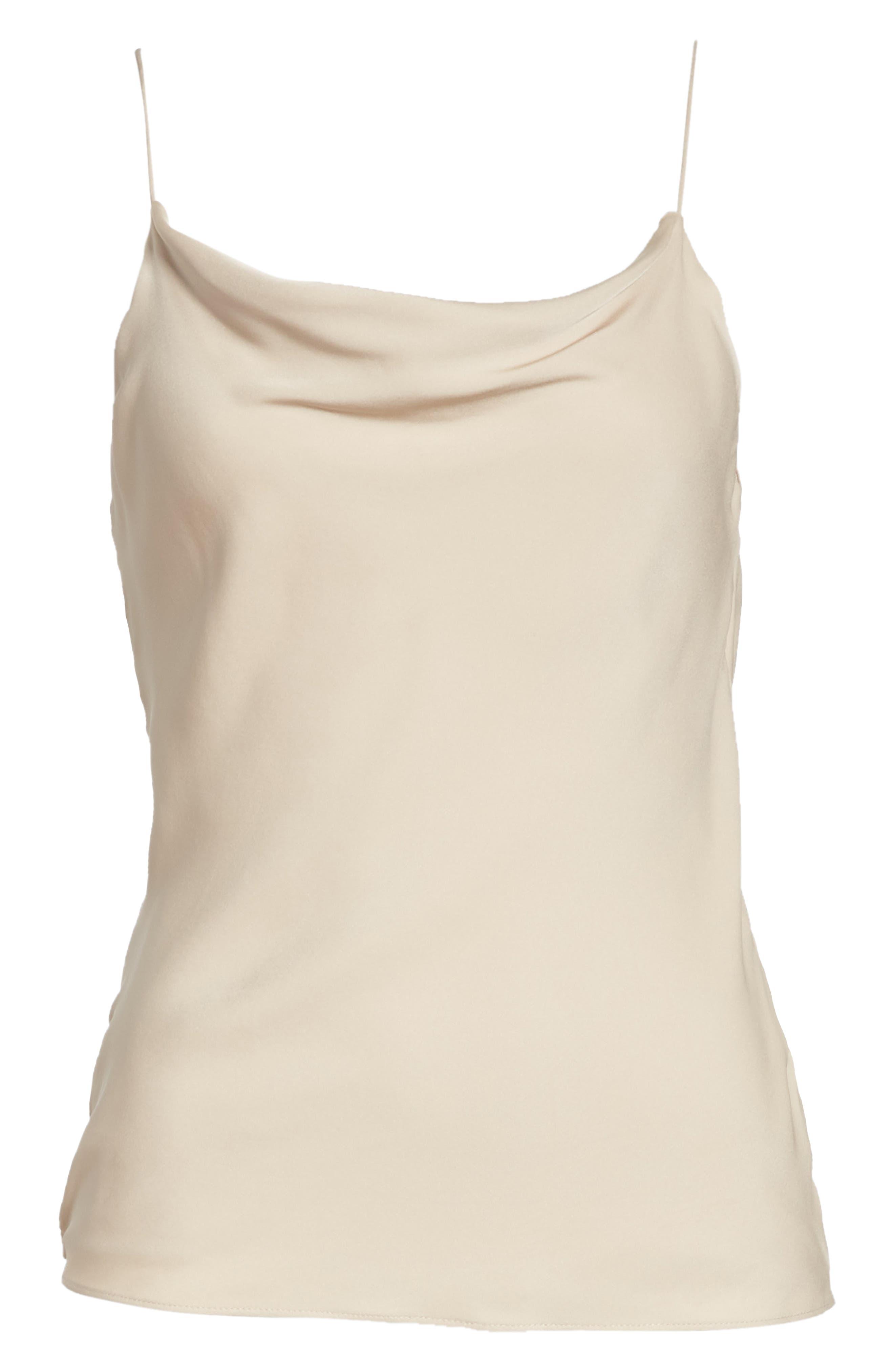 Cowl Back Silk Camisole,                         Main,                         color, Warm Stone