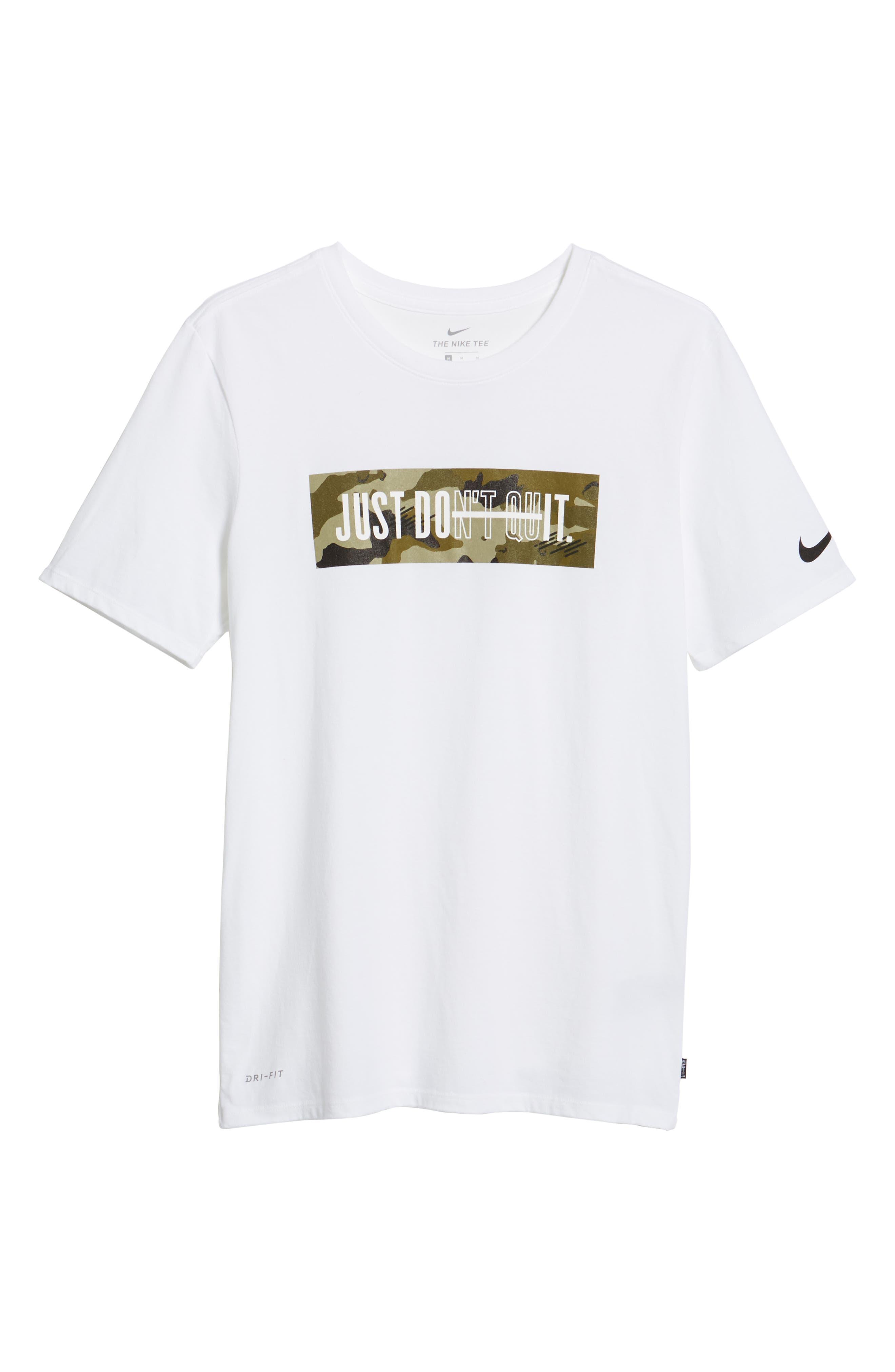 Dry Just Don't Quit T-Shirt,                             Alternate thumbnail 6, color,                             White/ Neutral Olive/ Black