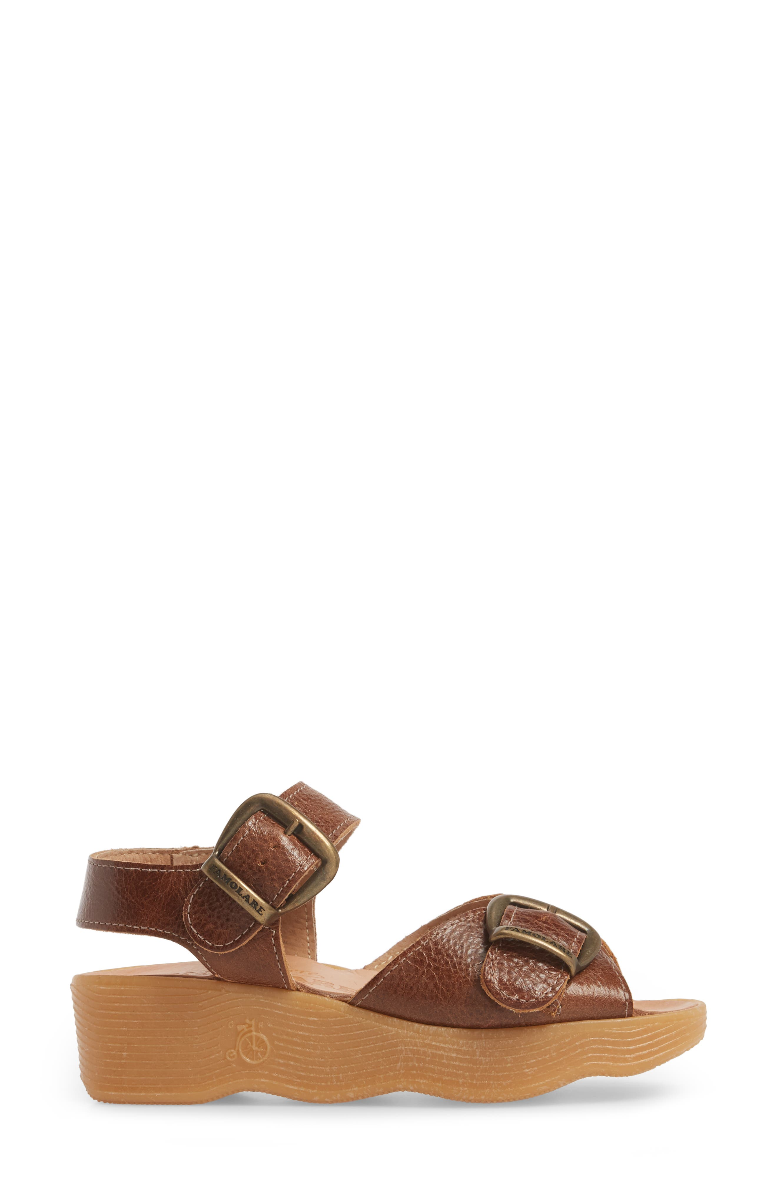 Double Play Platform Sandal,                             Alternate thumbnail 3, color,                             Earth Leather
