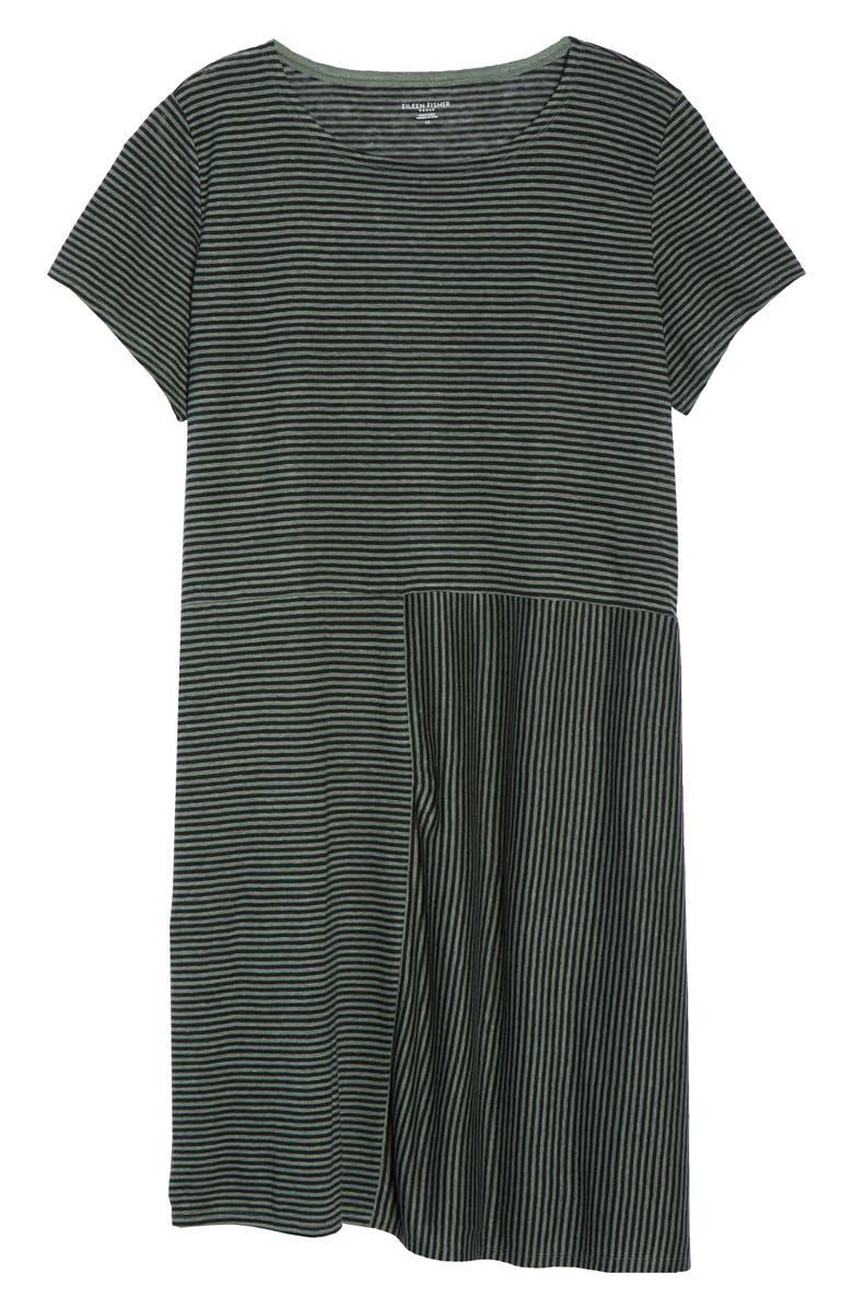 Stripe Organic Linen Jersey Shift Dress