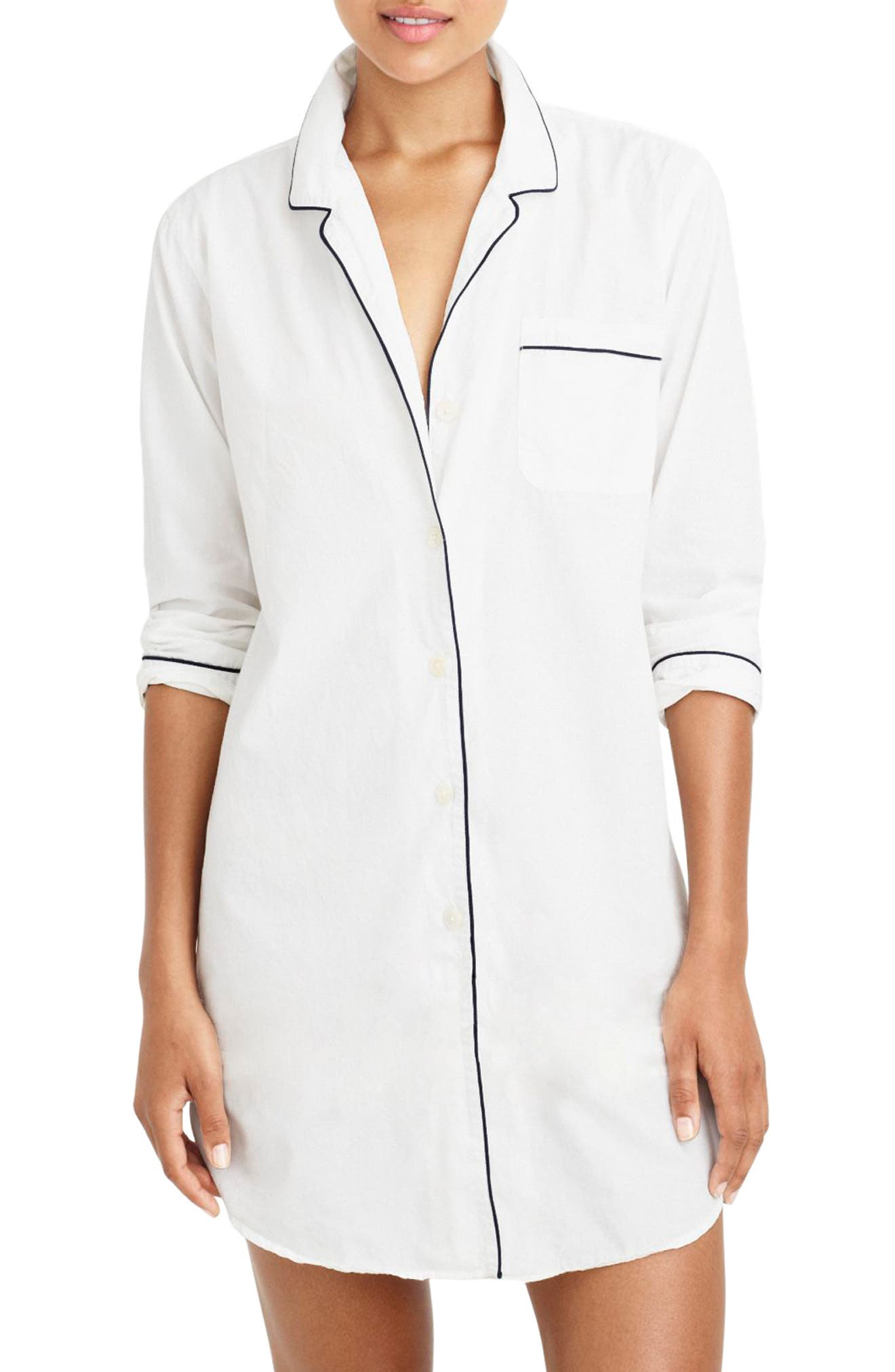 End on End Sleep Shirt,                         Main,                         color, White