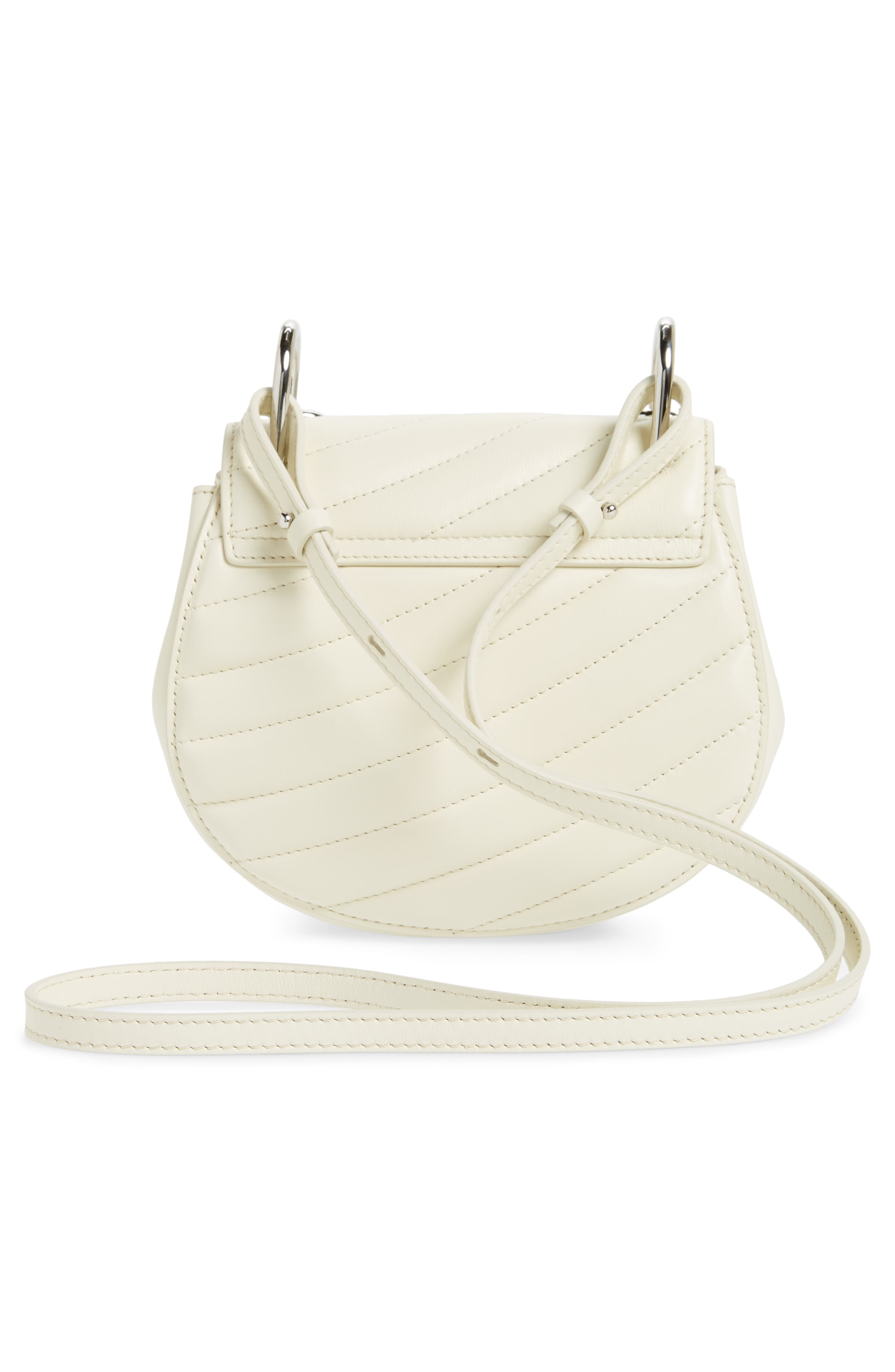 Mini Drew Bijoux Leather Shoulder Bag,                             Alternate thumbnail 6, color,                             Natural White