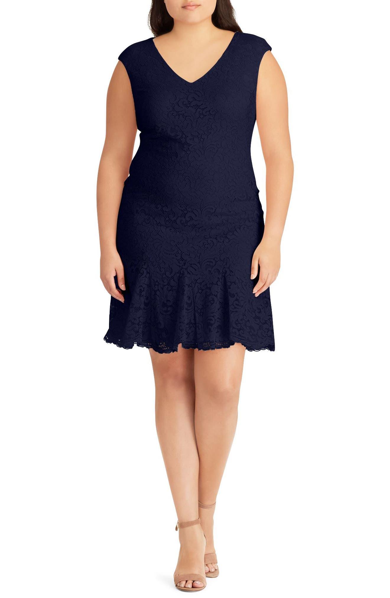 Lauren Ralph Lauren Lace A-Line Dress (Plus Size)