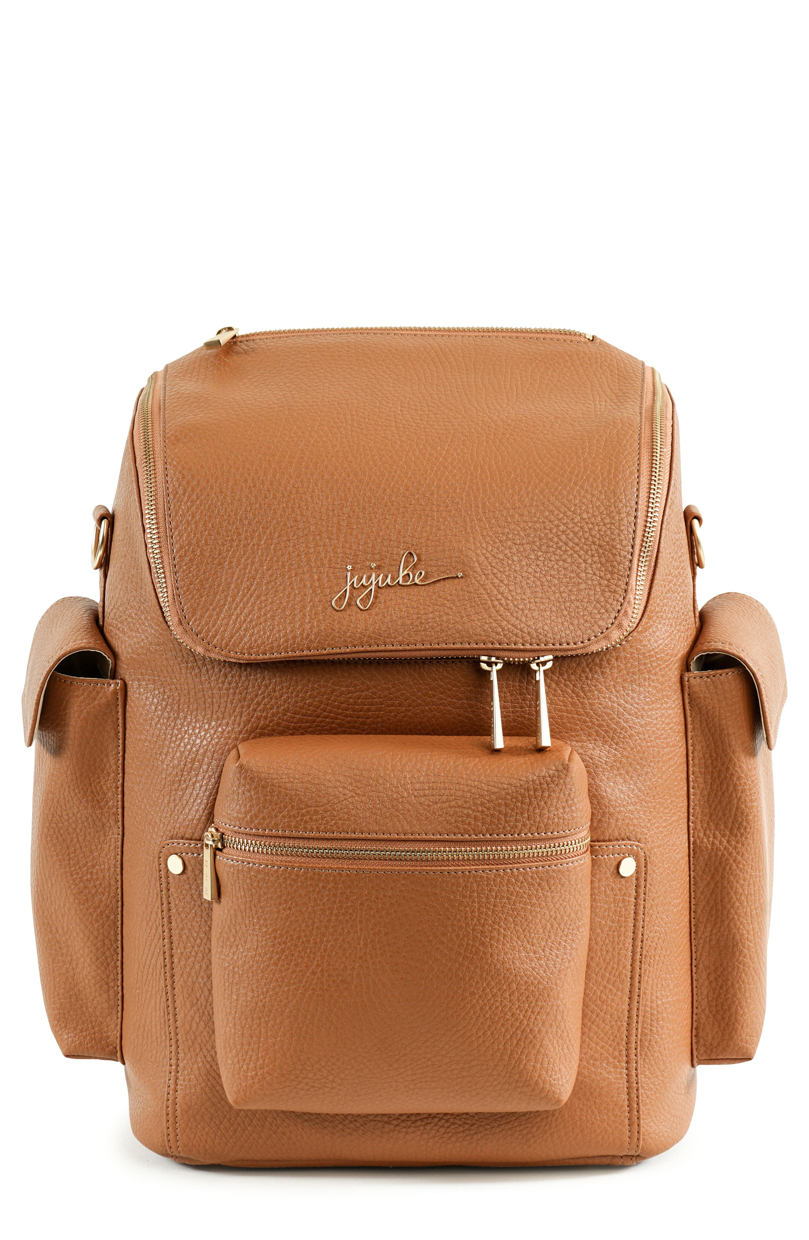Ever Collection Forever Faux Leather Diaper Backpack,                             Main thumbnail 1, color,                             Brulee