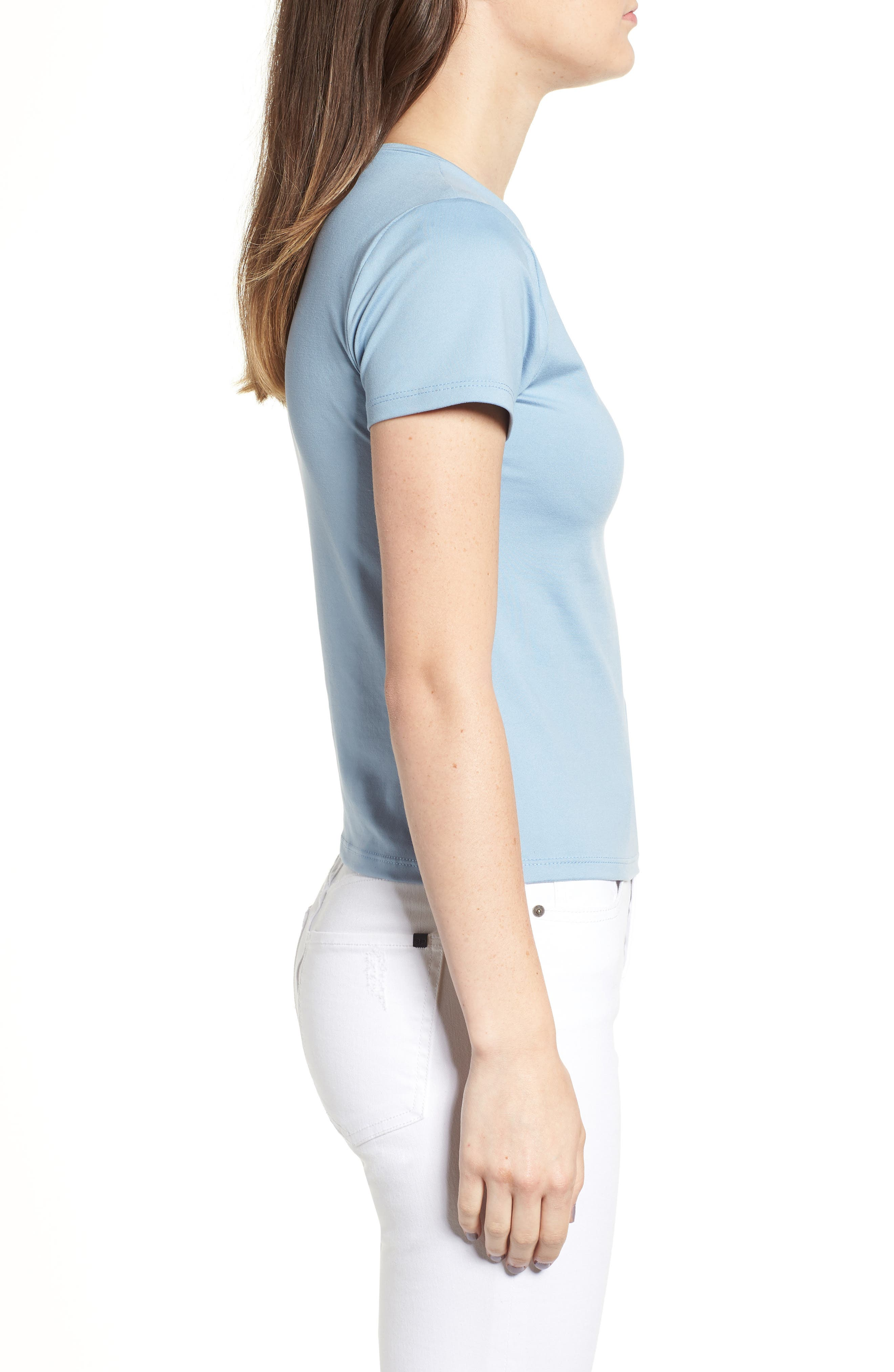 Fitted Tee,                             Alternate thumbnail 3, color,                             Chambray