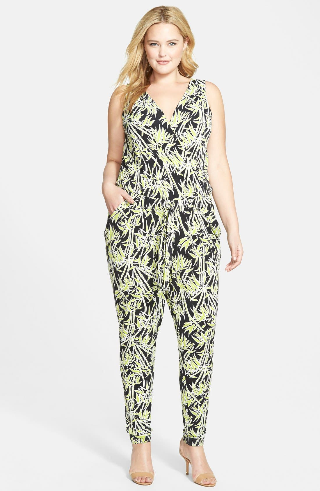 Bamboo Print Surplice Jersey Jumpsuit,                             Main thumbnail 1, color,                             Pear