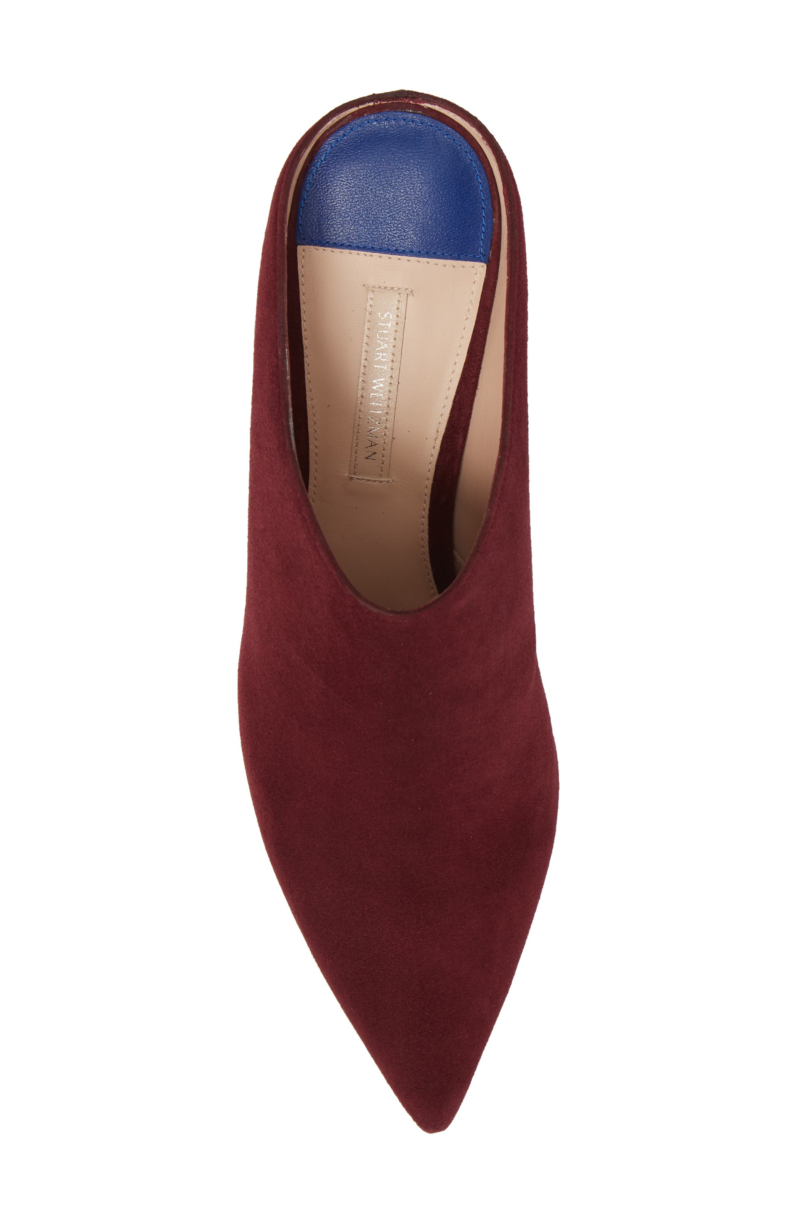 Mira Pointy Toe Mule,                             Alternate thumbnail 4, color,                             Cabernet Suede